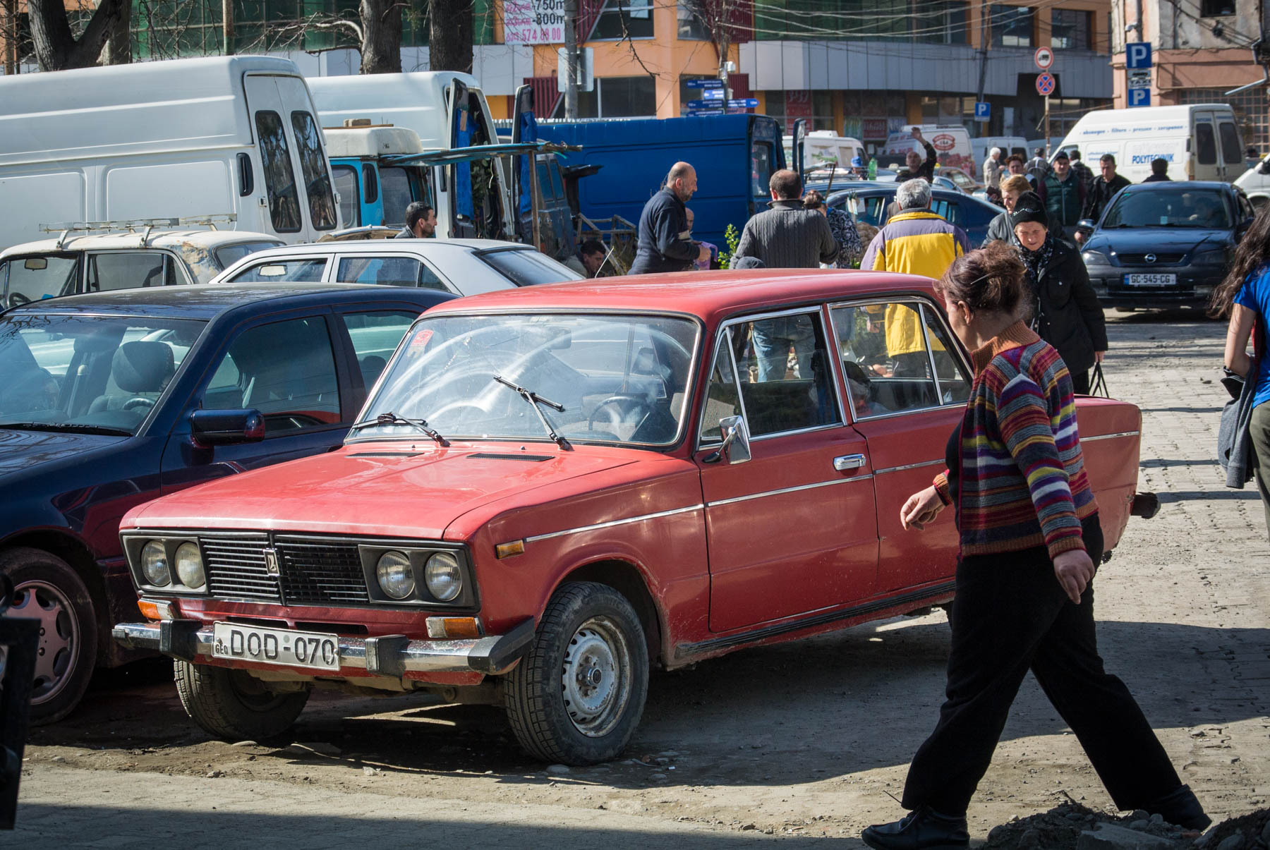 A Lada car in Kutasi, Georgia.