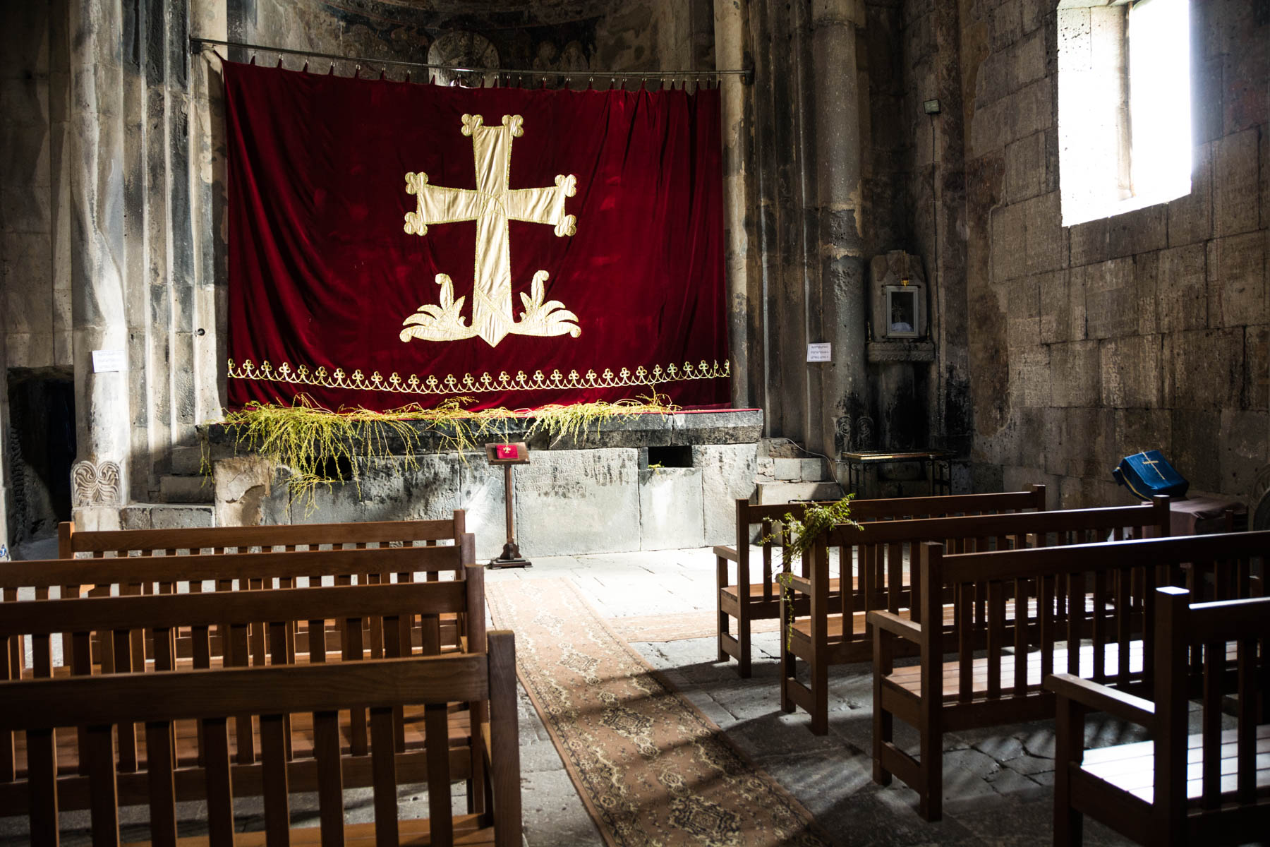 Easter in Armenia - Curtain closed over the altar at Haghpat monastery in Armenia.