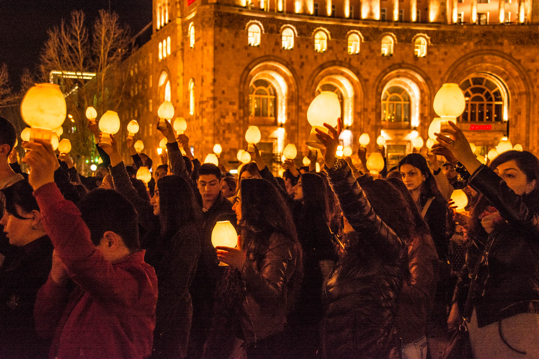 Easter in Armenia - Residents of Yerevan with candles for a ceremony in Republic Square, Yerevan to celebrate Easter in Armenia.