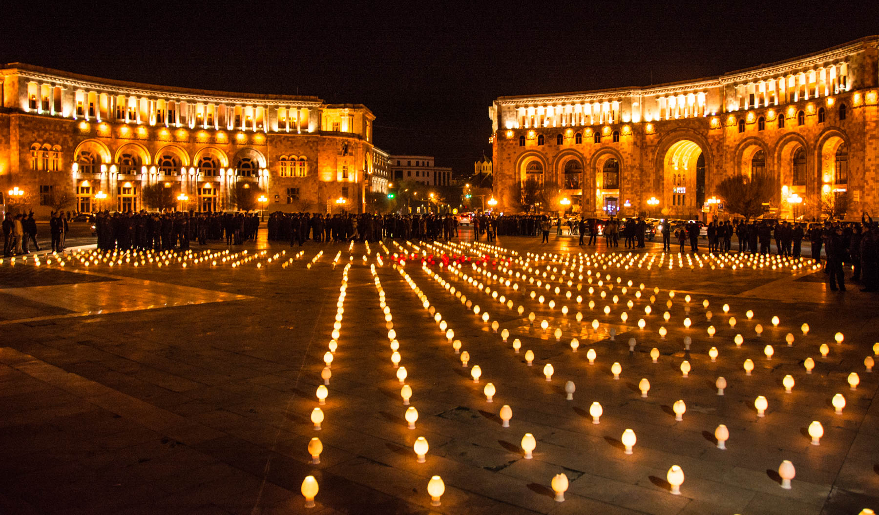 Easter in Armenia - A giant cross made of candles in Republic Square, Yerevan to celebrate Easter in Armenia.