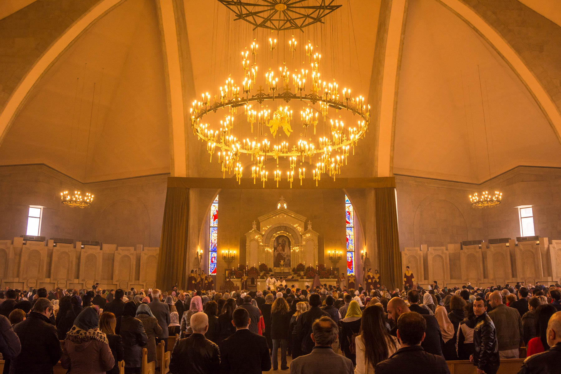 Easter in Armenia - People standing to receive communion at the Gregory the Illuminator cathedral in Yerevan to celebrate Easter in Armenia.