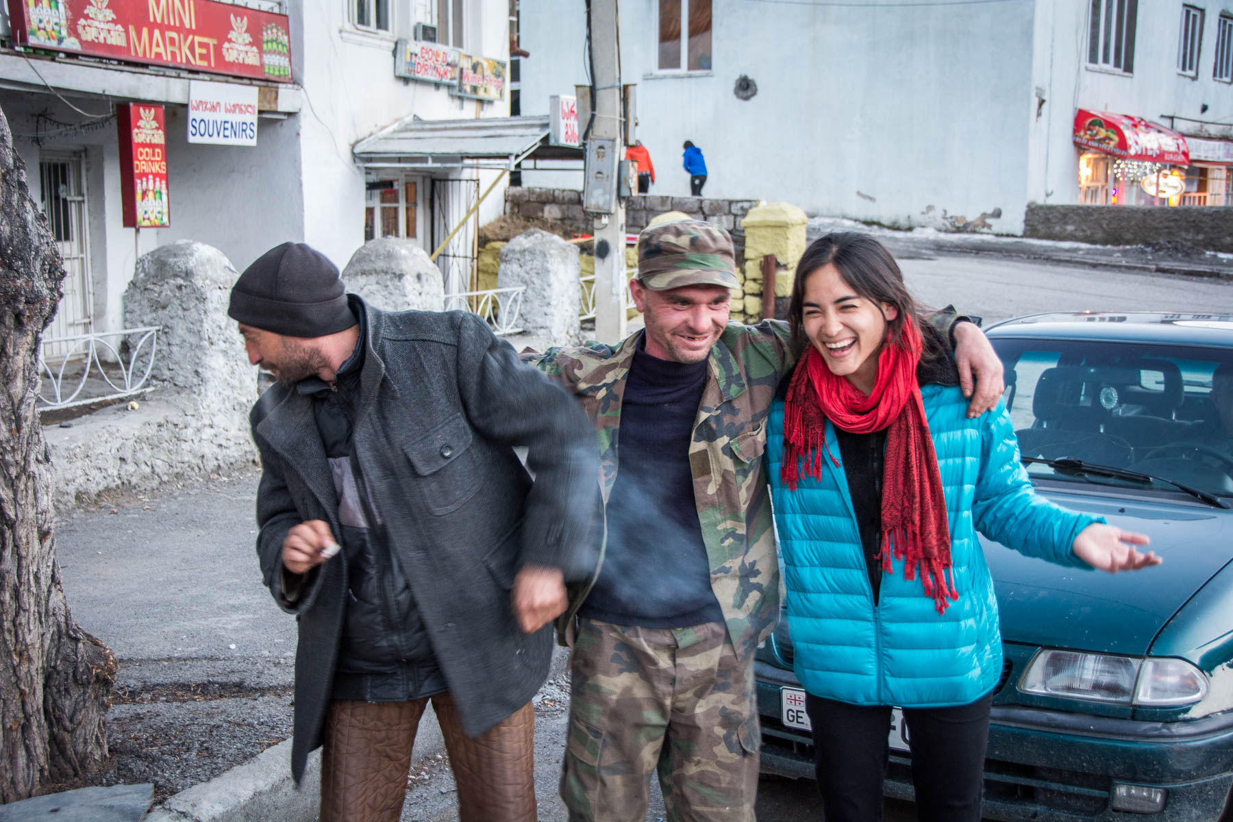 Dying/laughing with our hitchhiking companions in Kazbegi, Georgia