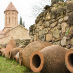 Kvevri wine containers at Ikalto monastery in Georgia