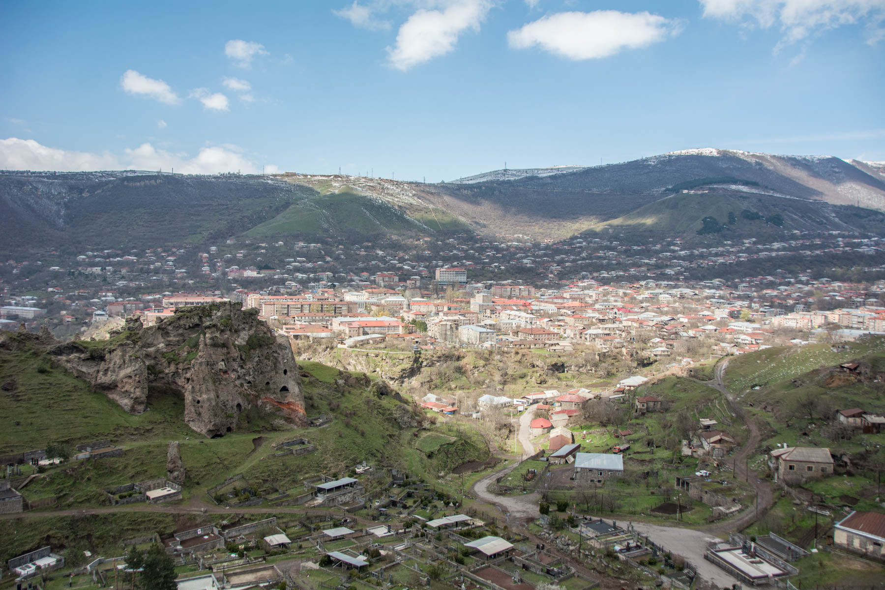 How to get to Tatev from Goris, Armenia - The city of Goris, Armenia from the top of a mountain.
