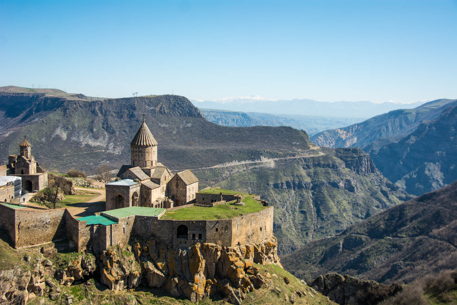How to get to Tatev from Goris, Armenia - Tatev monastery from above, a great success! Good thing we figured out how to get Tatev from Goris, Armenia