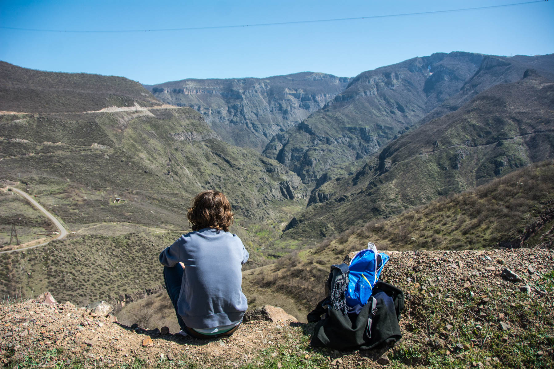 How to get to Tatev from Goris, Armenia - Admiring the view on the way back to Goris from Tatev monastery in Armenia.