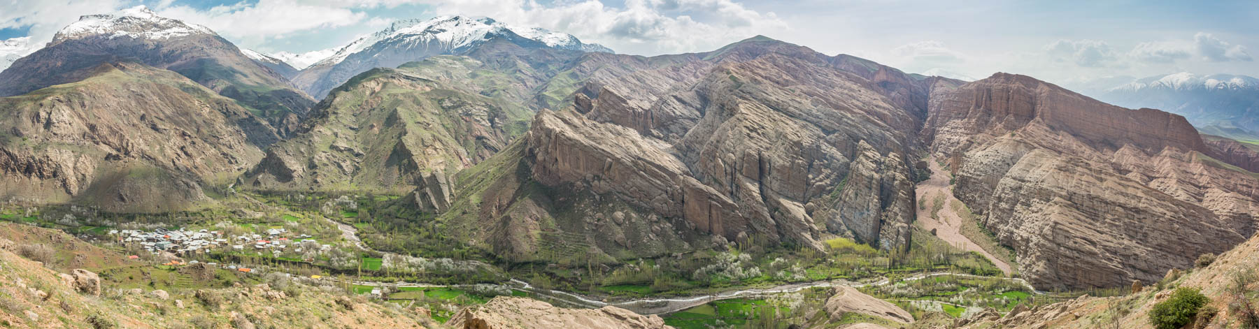 A panoramic view of the Alamut Valley in northern Iran.