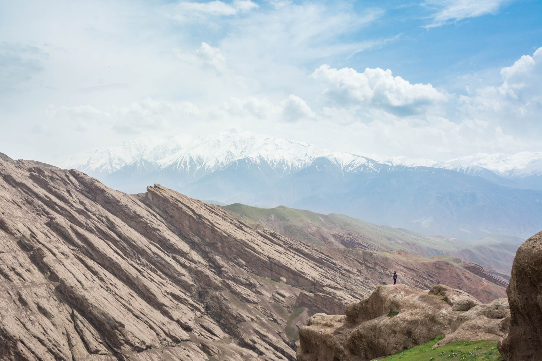 A view slanting of rock formations from the Alamut Castle