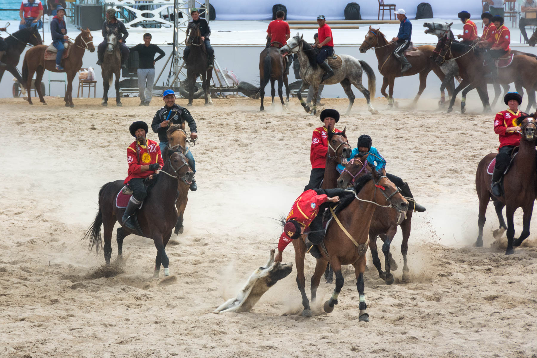 Camera advice for beginner travel photographers - Headless goat polo, AKA Kok Buru, at the World Nomad Games in Kyrgyzstan - Lost With Purpose travel blog
