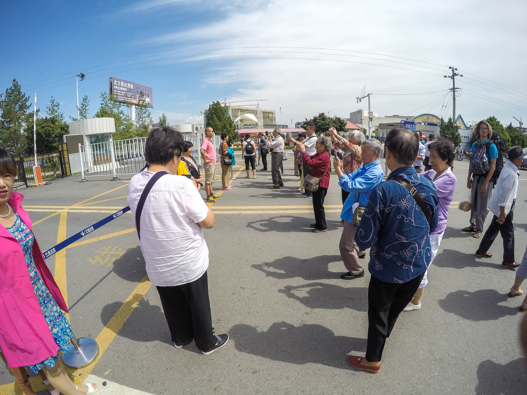Chinese tourists at the China - Kazakhstan border crossing at Khorgos.