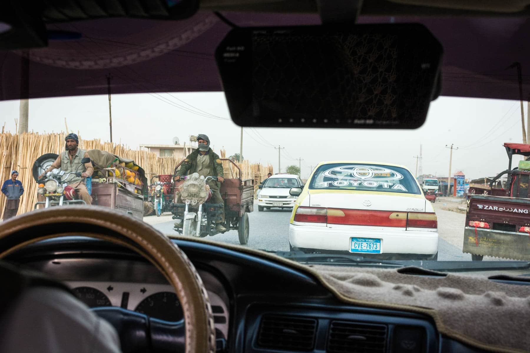 The inside of a taxi in Mazar-i-Sharif, Afghanistan