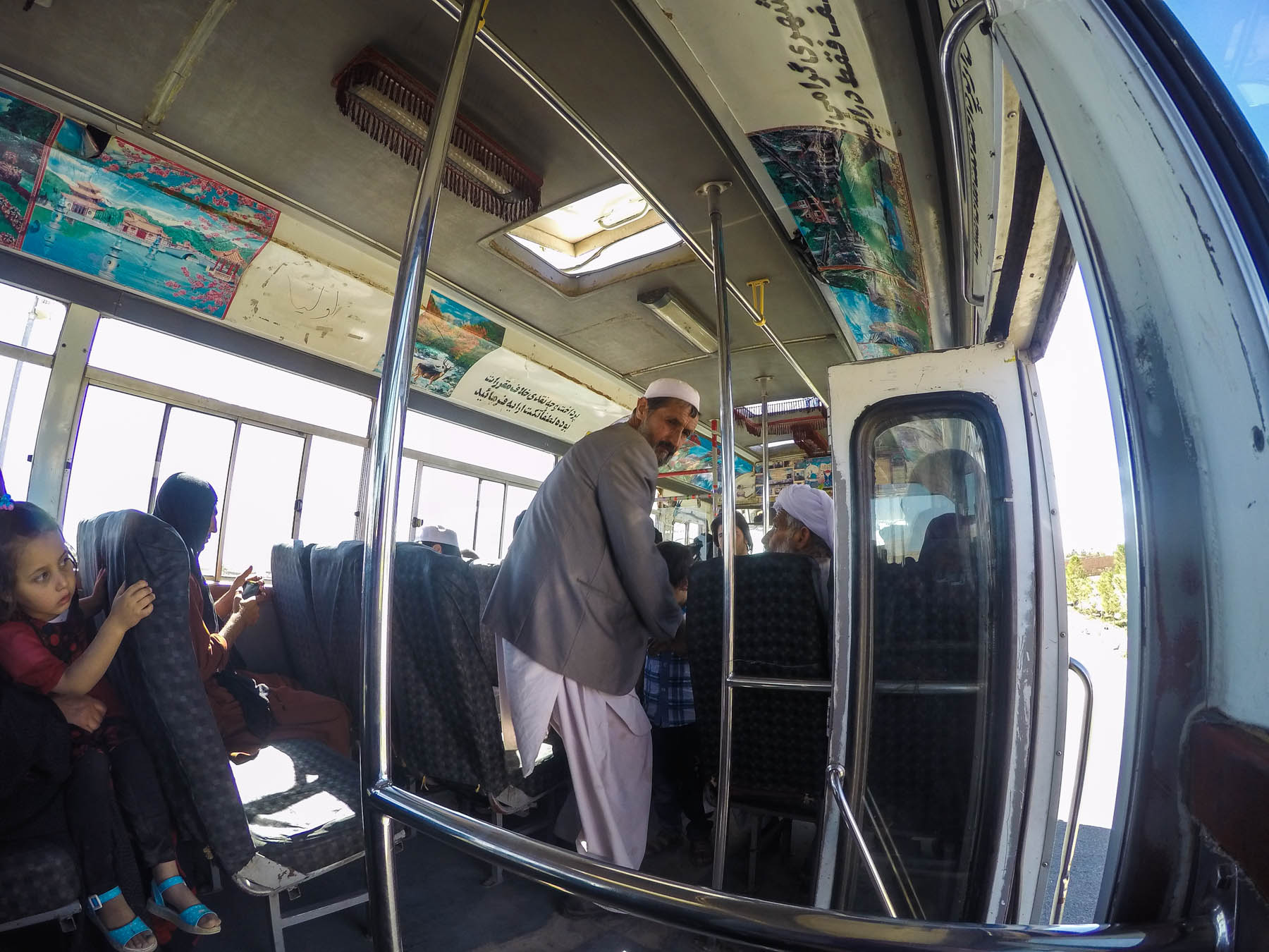 Man staning in a local bus in Herat, Afghanistan