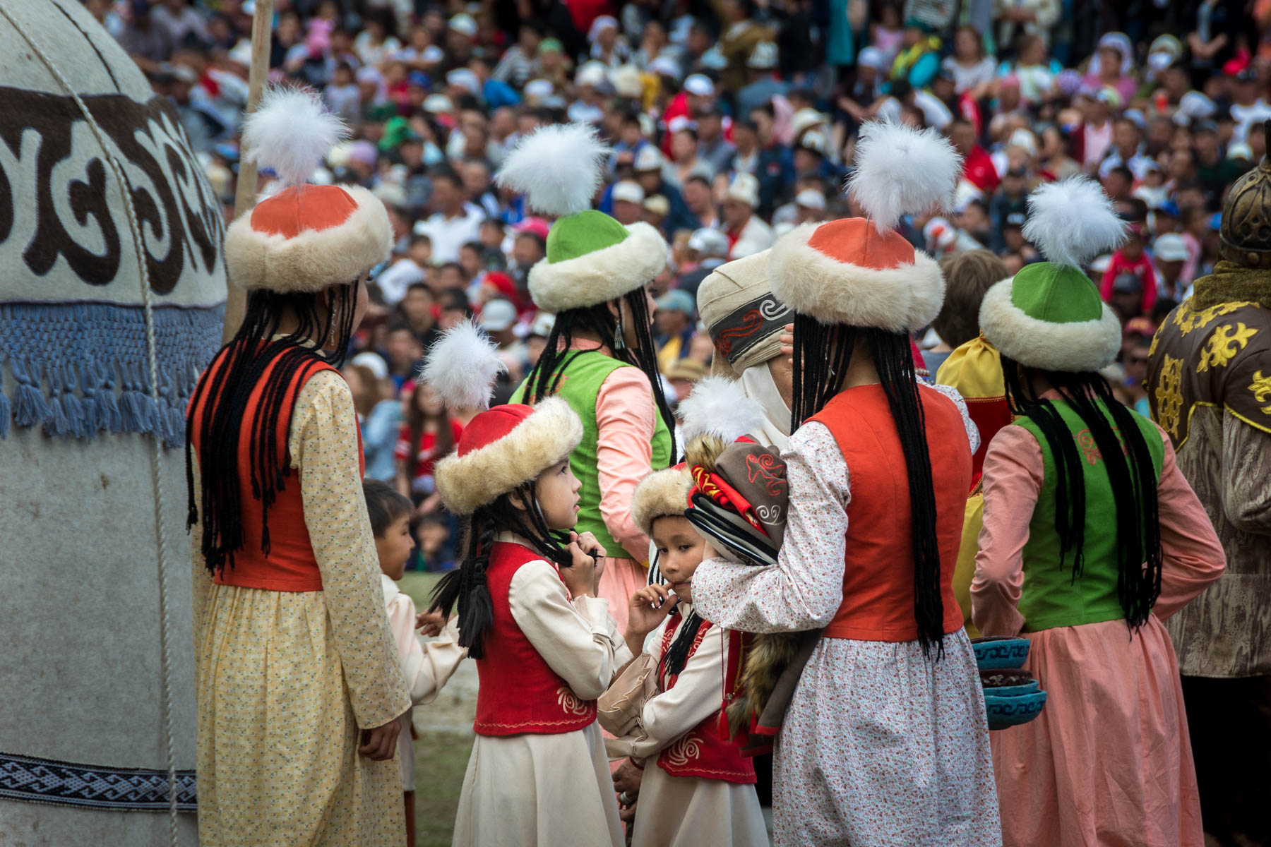 Young girls at the opening ceremony of the 2016 World Nomad Games in Kyrgyzstan