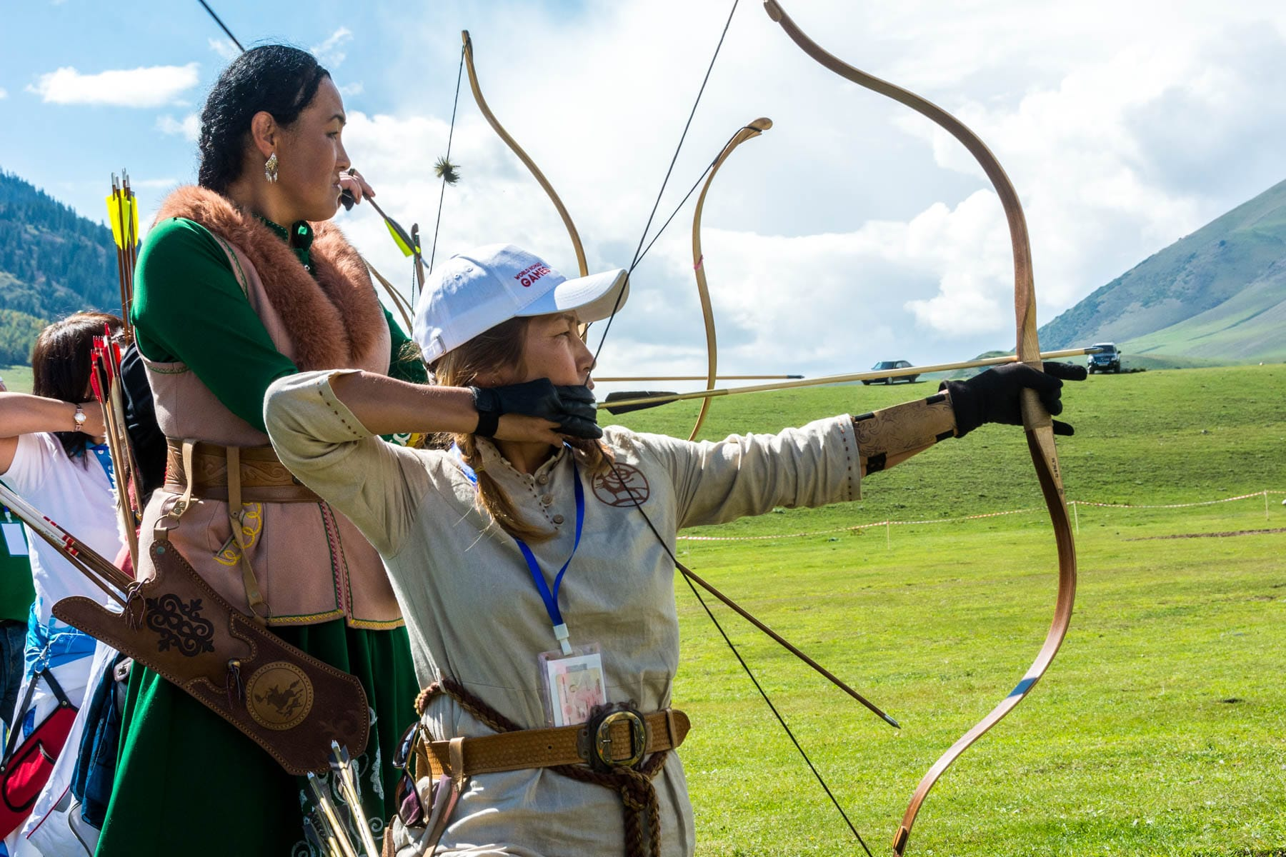 Women doing archery at the World Nomad Games