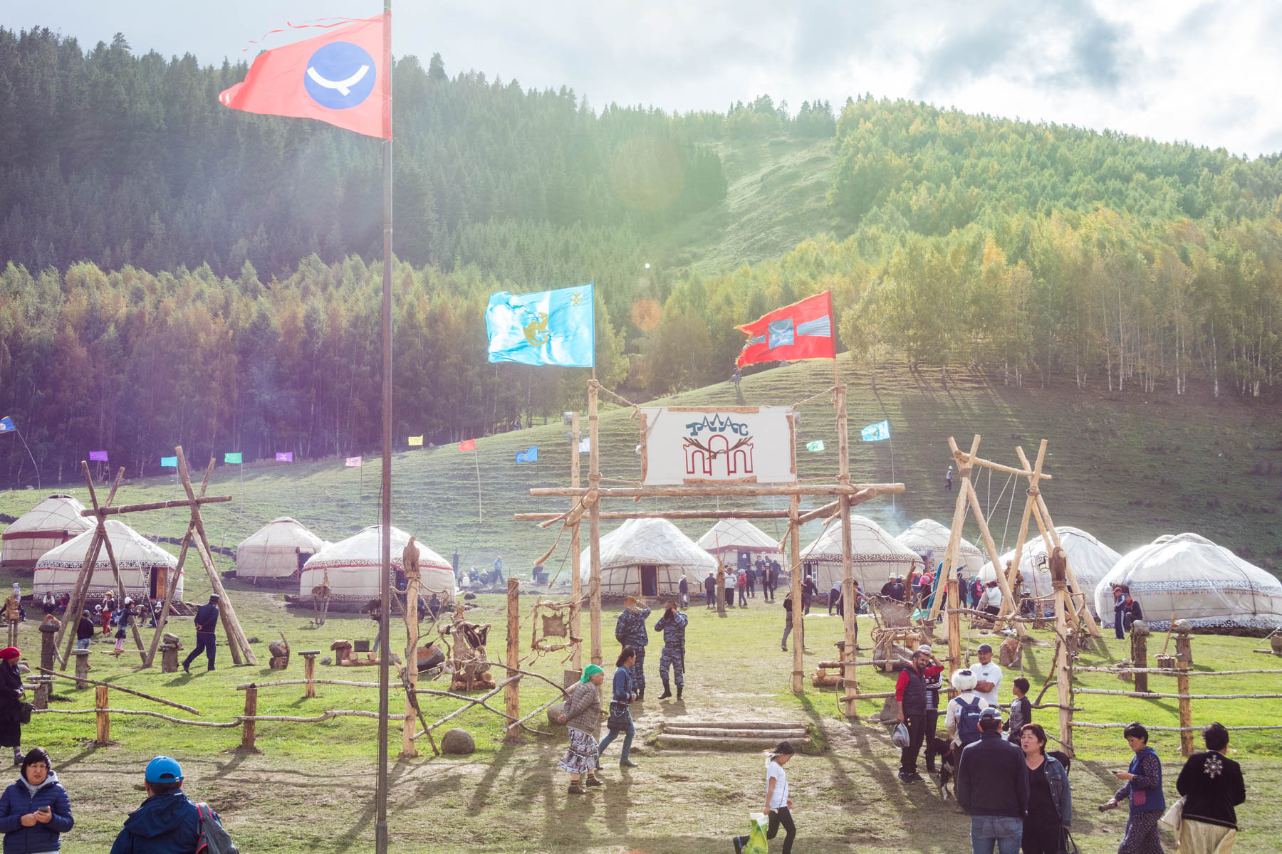 A yurt camp representing a specific region of Kyrgyzstan at the 2016 World Nomad Games