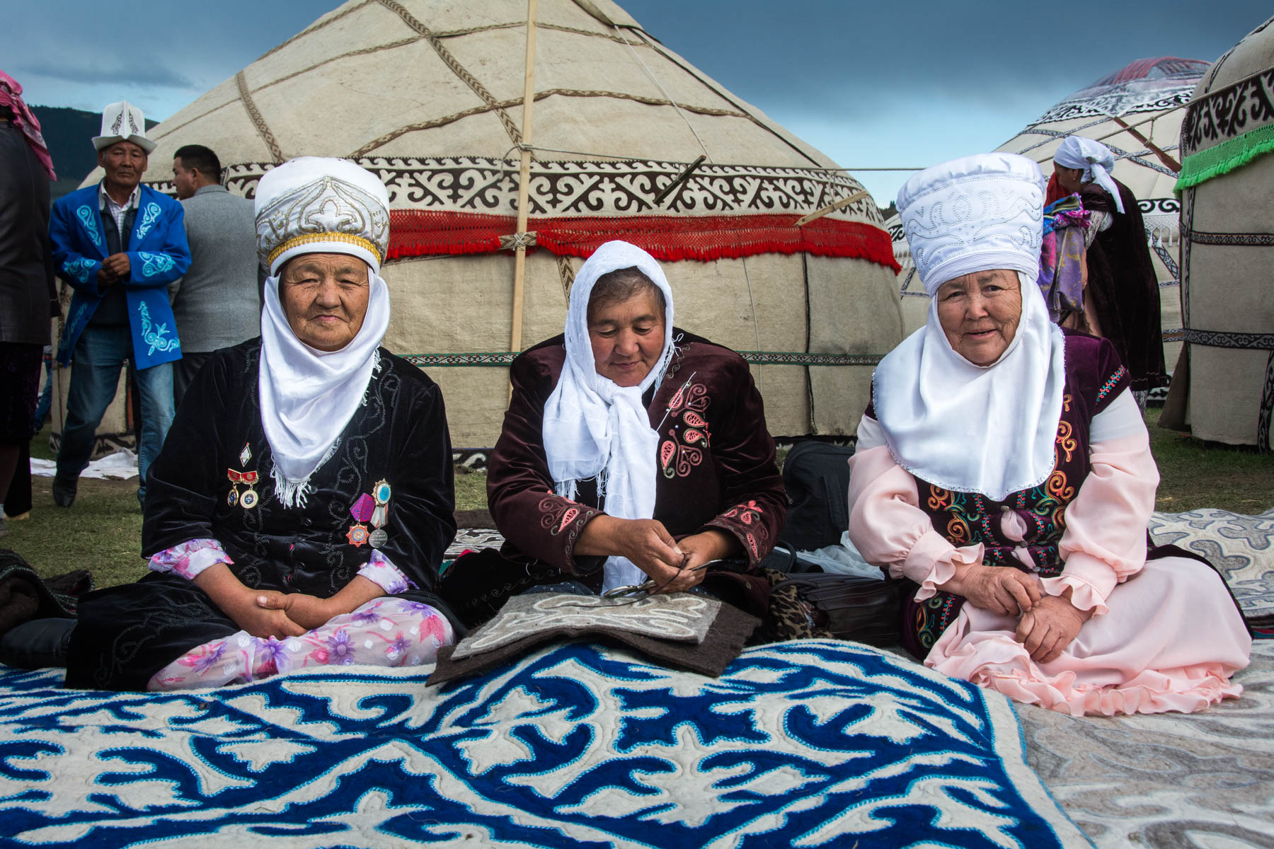 Old women in traditional Kyrgyz clothes
