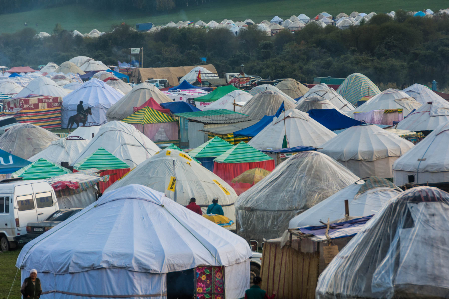 A yurt camp at the 2016 World Nomad Games