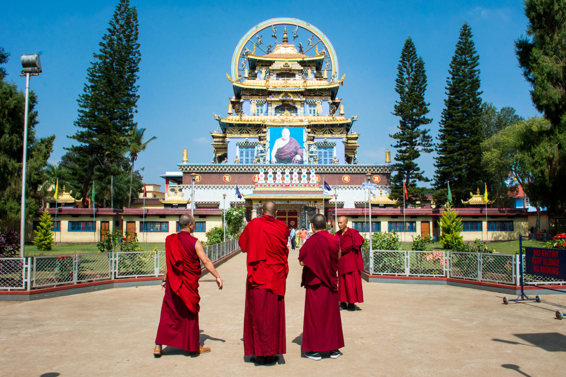 Visiting Namdroling Monastery in Bylakuppe, India - Monks outside Namdroling Monastery in Bylakuppe, Karnataka, India - Lost With Purpose