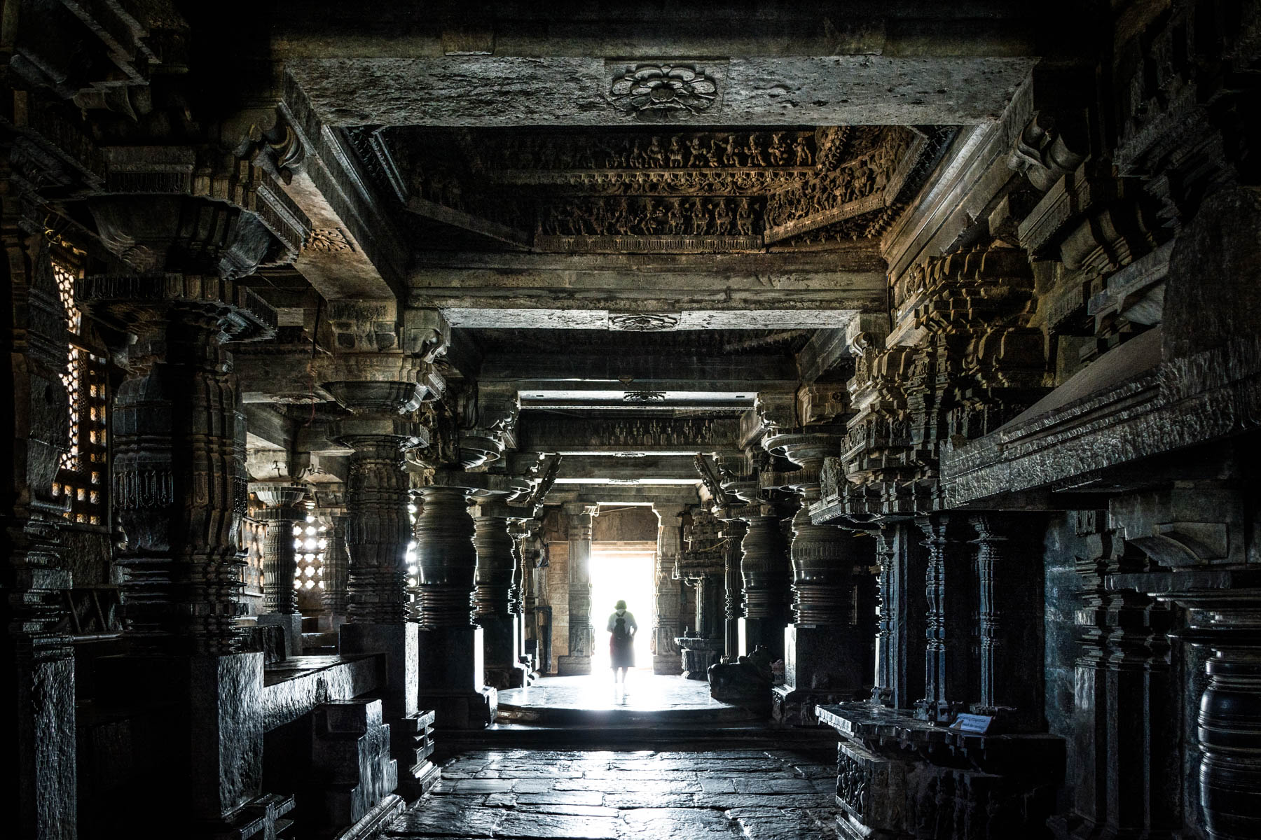 Off the beaten track places to visit in Karnataka, India - The strikingly dark interior of the Hoyaleshwara temple in Halebidu, India - Lost With Purpose