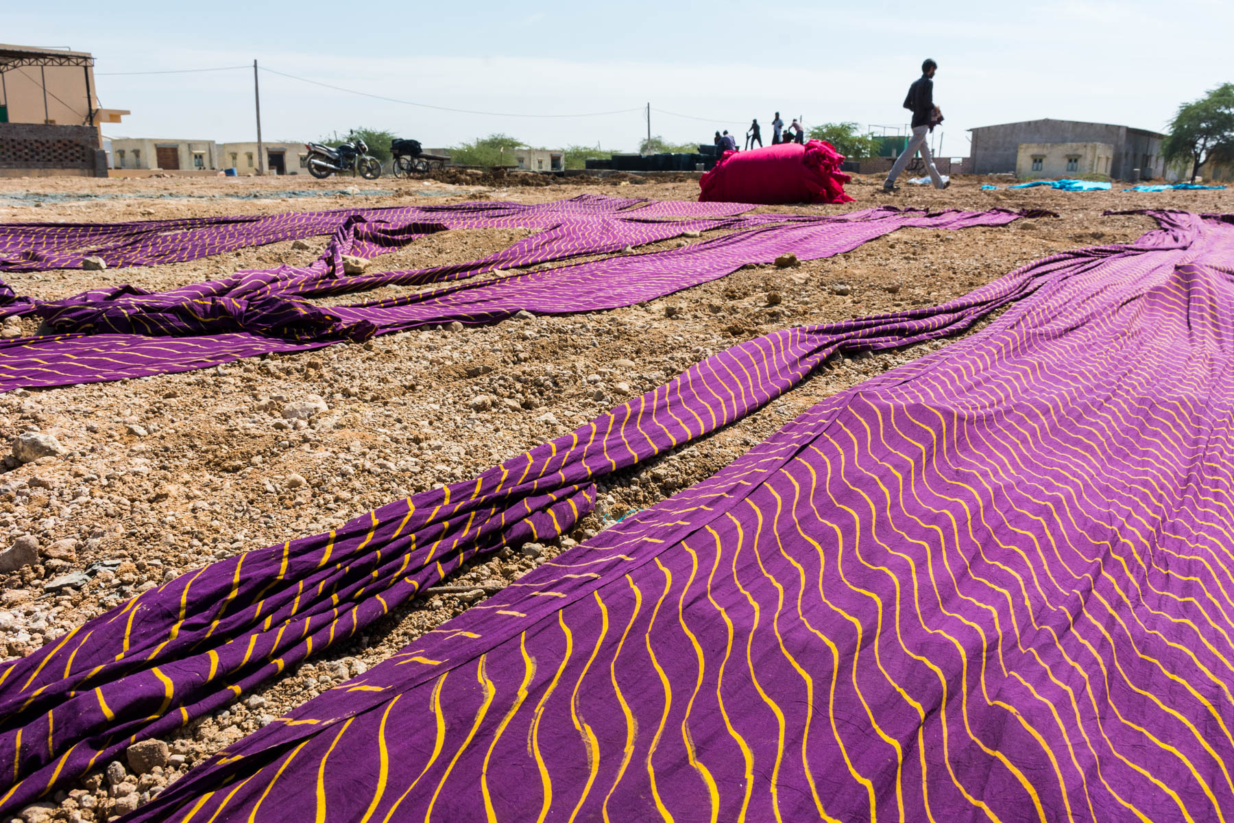 Textiles and crafts of Kutch, Gujarat, India - Block printed fabric drying in the sun in Ajrakhpur - Lost With Purpose