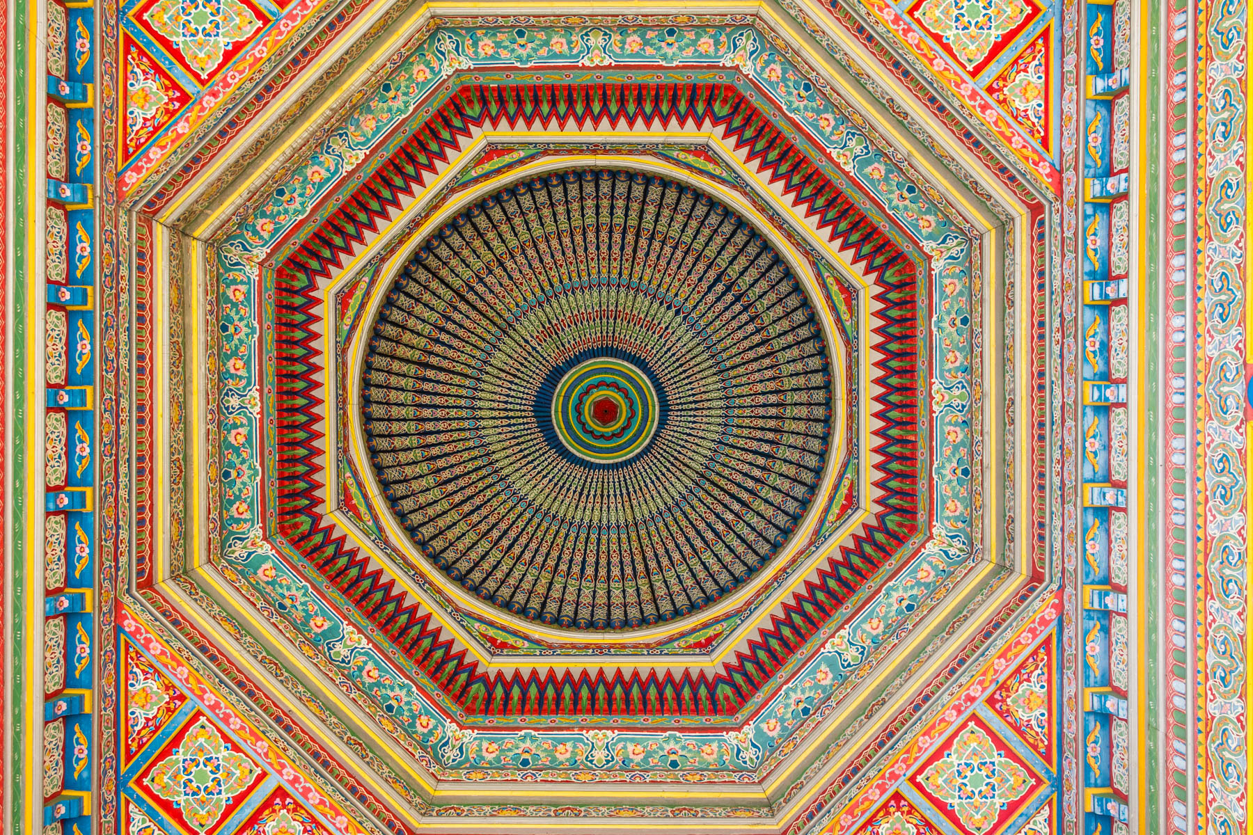 Two week Uzbekistan itinerary - Nameless mosque ceiling in Andijan, Uzbekistan - Lost With Purpose