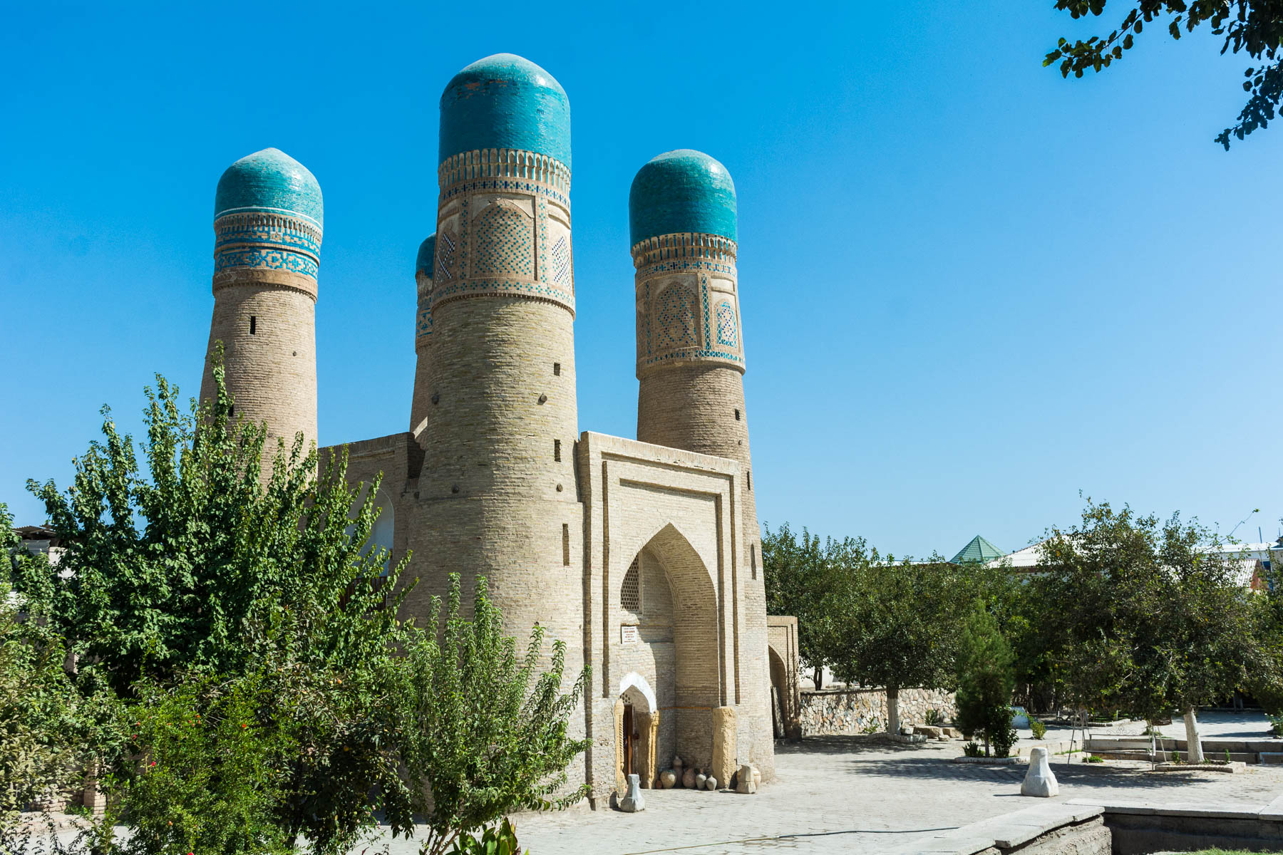 Two week Uzbekistan itinerary - The small Chor Minor mosque in Bukhara, Uzbekistan - Lost With Purpose
