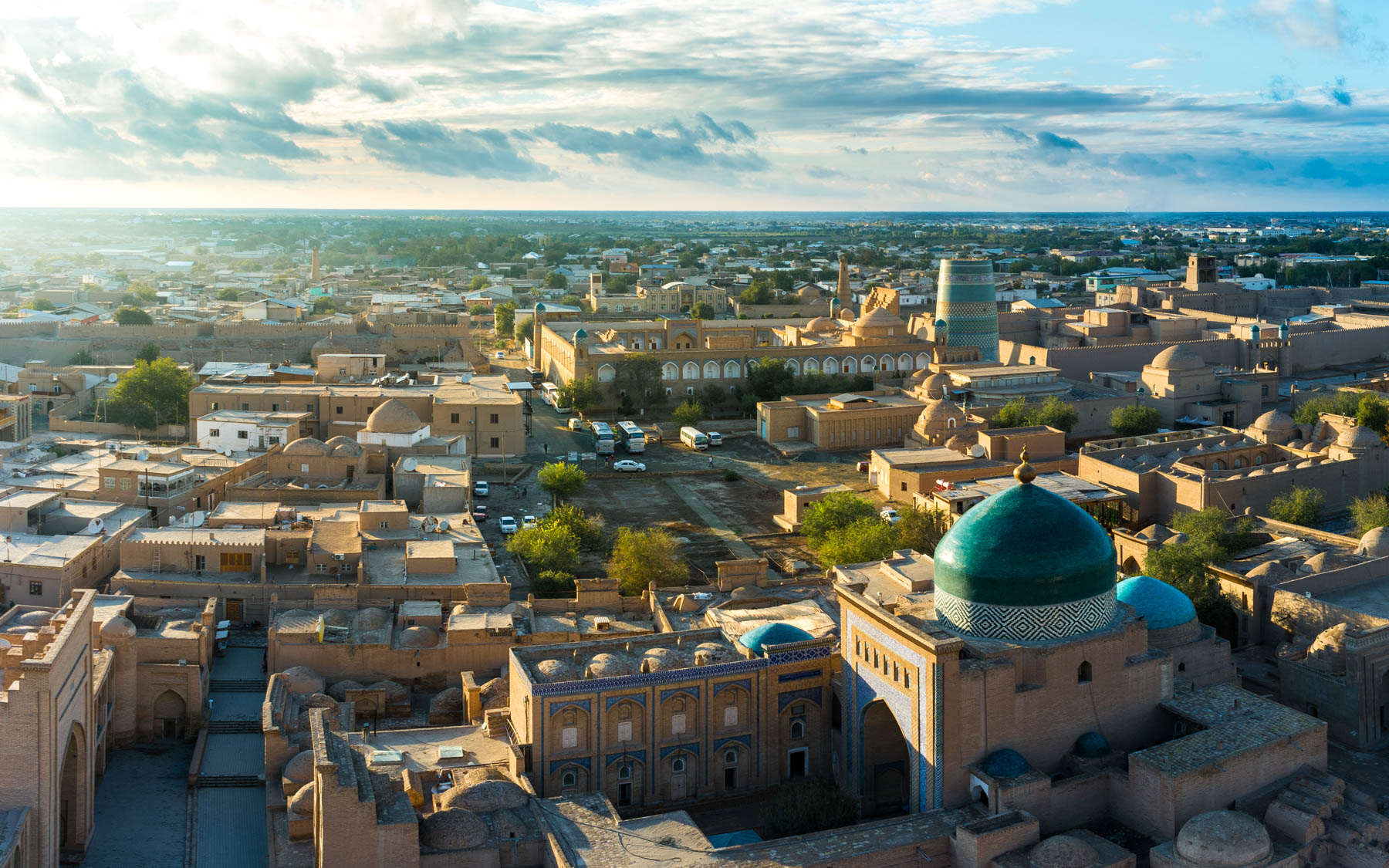 Two week Uzbekistan itinerary - Khiva old town at sunset in Uzbekistan - Lost With Purpose