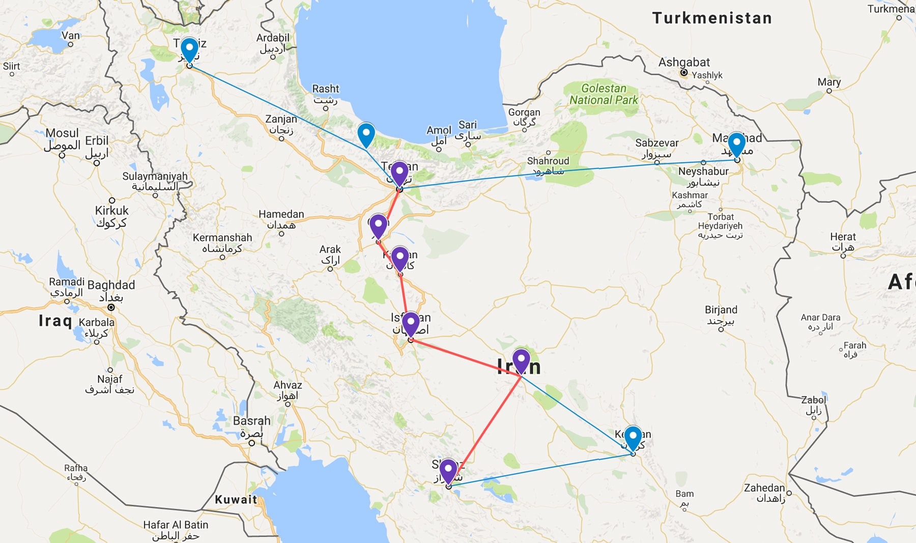 Two week Iran travel itinerary - The Route Map - Lost With Purpose