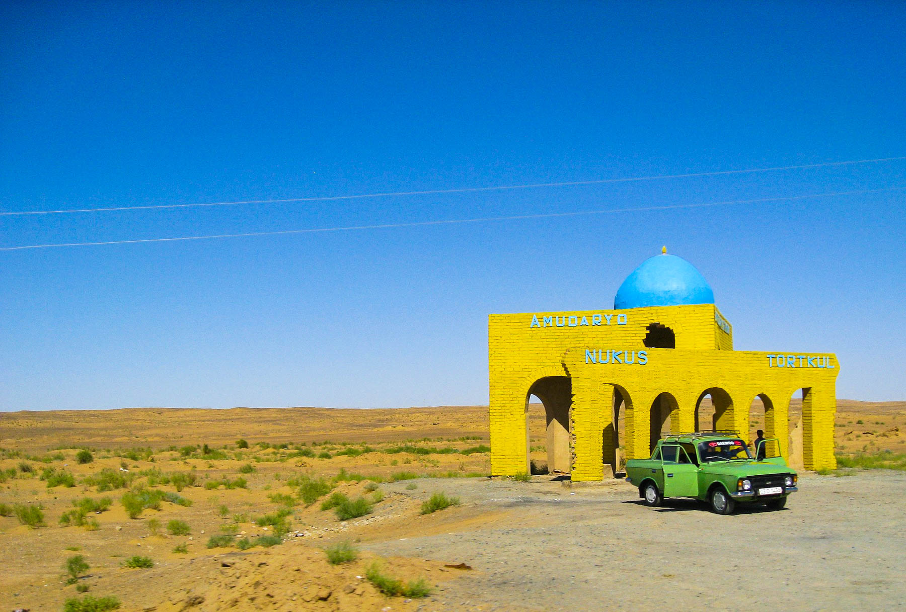 A bus stop in the desert near Nukus
