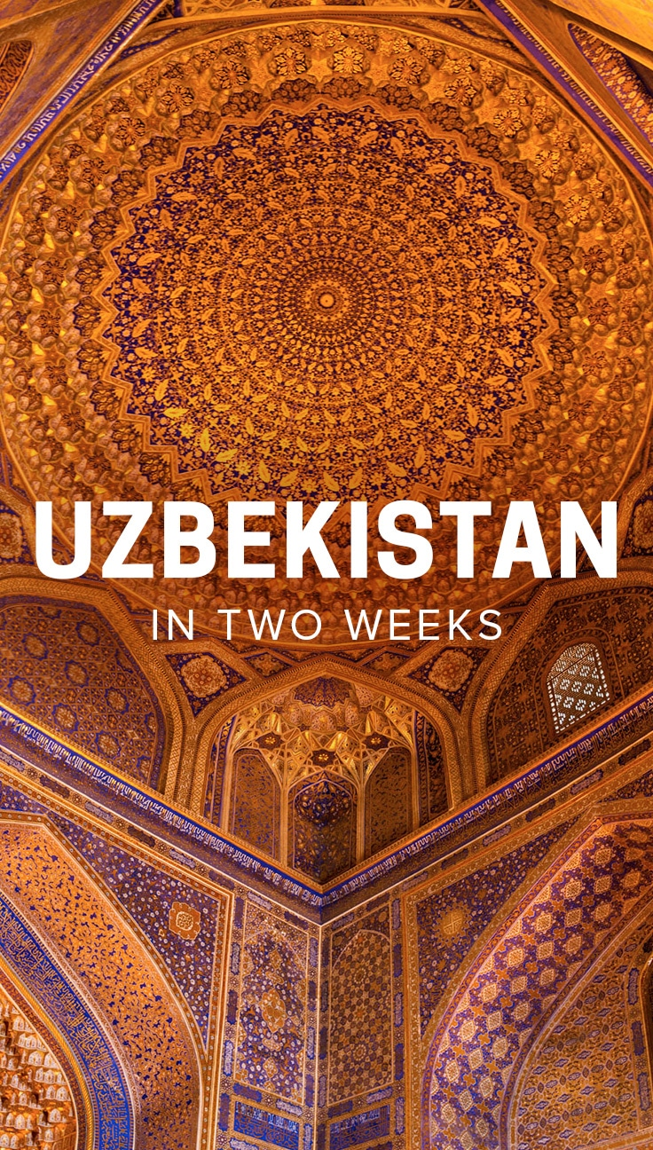 Considering traveling to beautiful Uzbekistan in Central Asia? From stunning Islamic architecture to colorful silk bazaars to smiling Central Asian people, Uzbekistan is sure to be a delight for any kind of traveler. Read on for a comprehensive two-week Uzbekistan travel itinerary, complete with photos, travel times, tips on where to stay, and what to see.