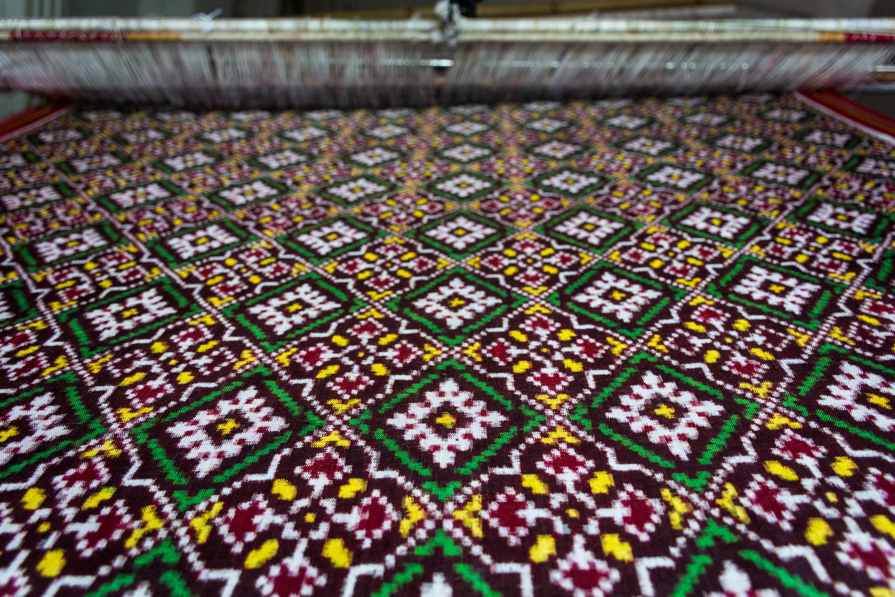 History of Patola in Patan, Gujarat, India - A half woven Patola in the works - Lost With Purpose