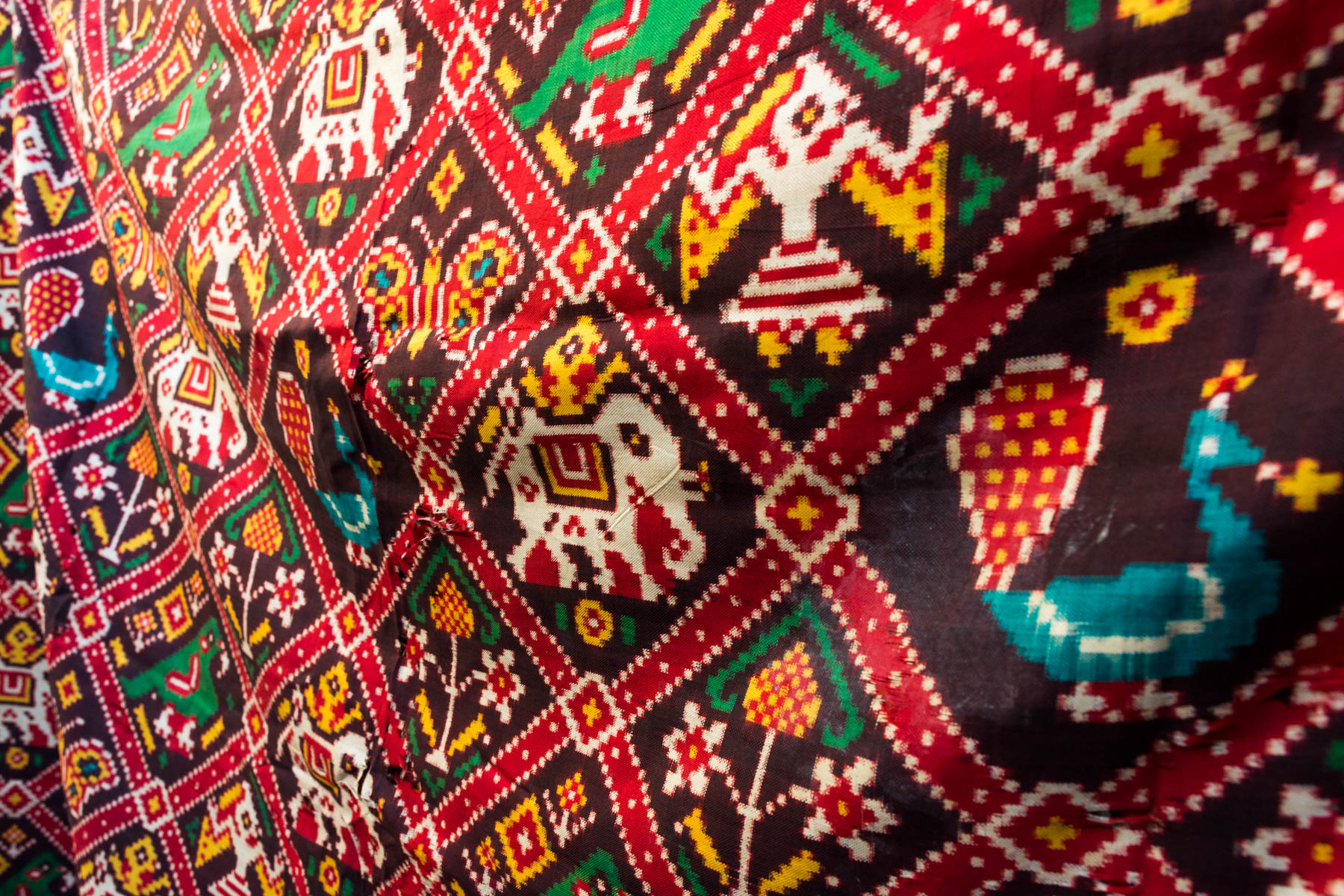 A history of Patan Patola in Gujarat, India - Finished classical Patola and patterns - Lost WIth Purpose