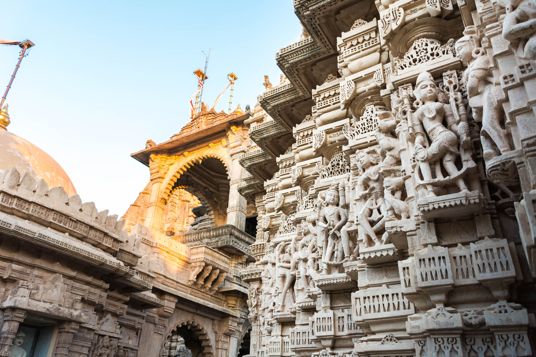 Jain pilgrimage in Palitana, Gujarat, India - Sunrise on temple details - Lost With Purpose