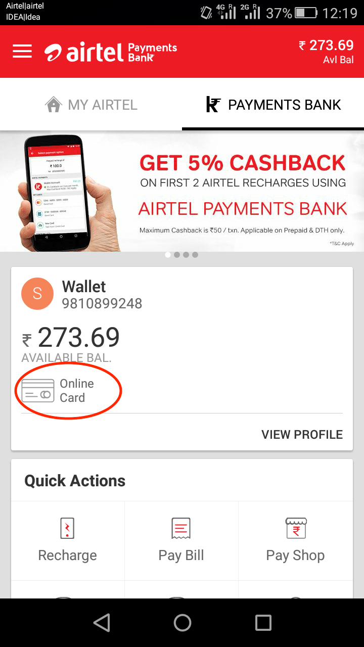How to pay online in India as a foreigner - Airtel Debit card screenshot - Lost With Purpose