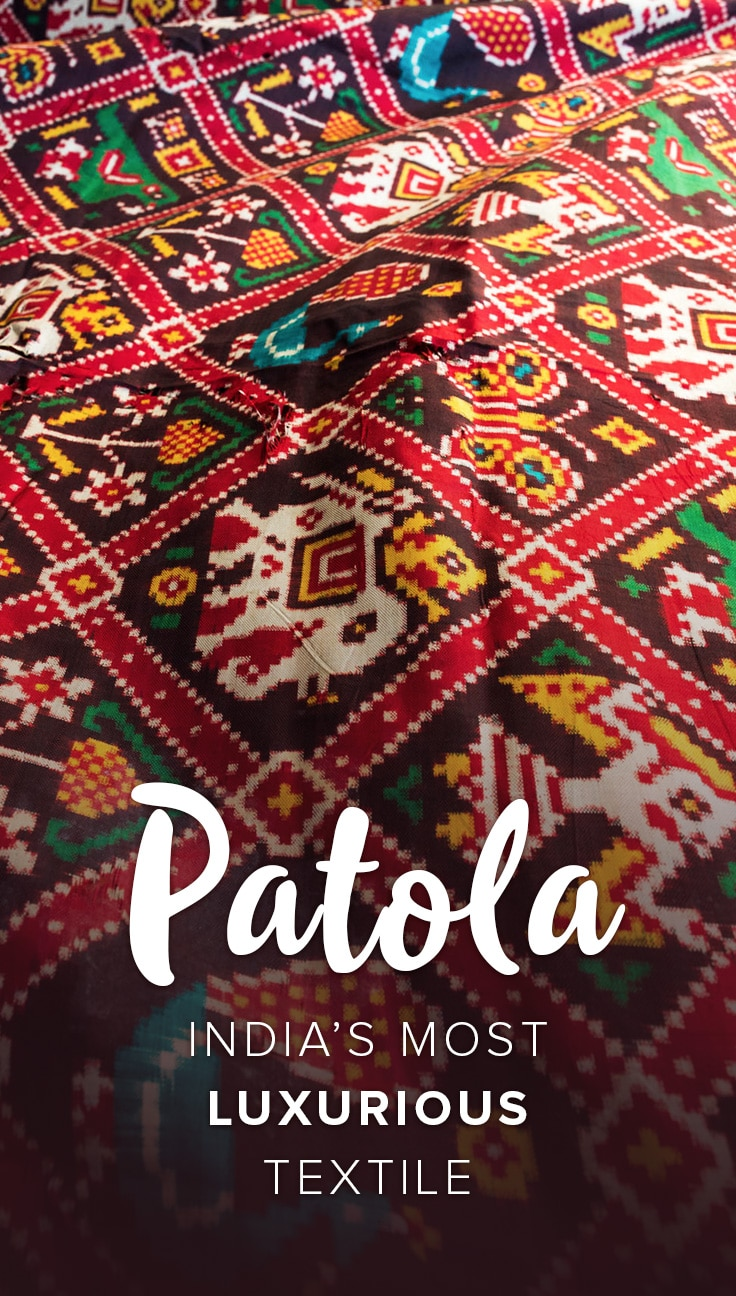 The Patola of Patan, a town in Gujarat state, India, are some of the most complex and luxurious fabrics in the world, thanks to their complex double ikat weaving technique. One sari takes at least 7 months to complete, and costs upwards of $2,000! Read on for a history of Patan Patola, and a look at one of the last families still weaving them in India today.