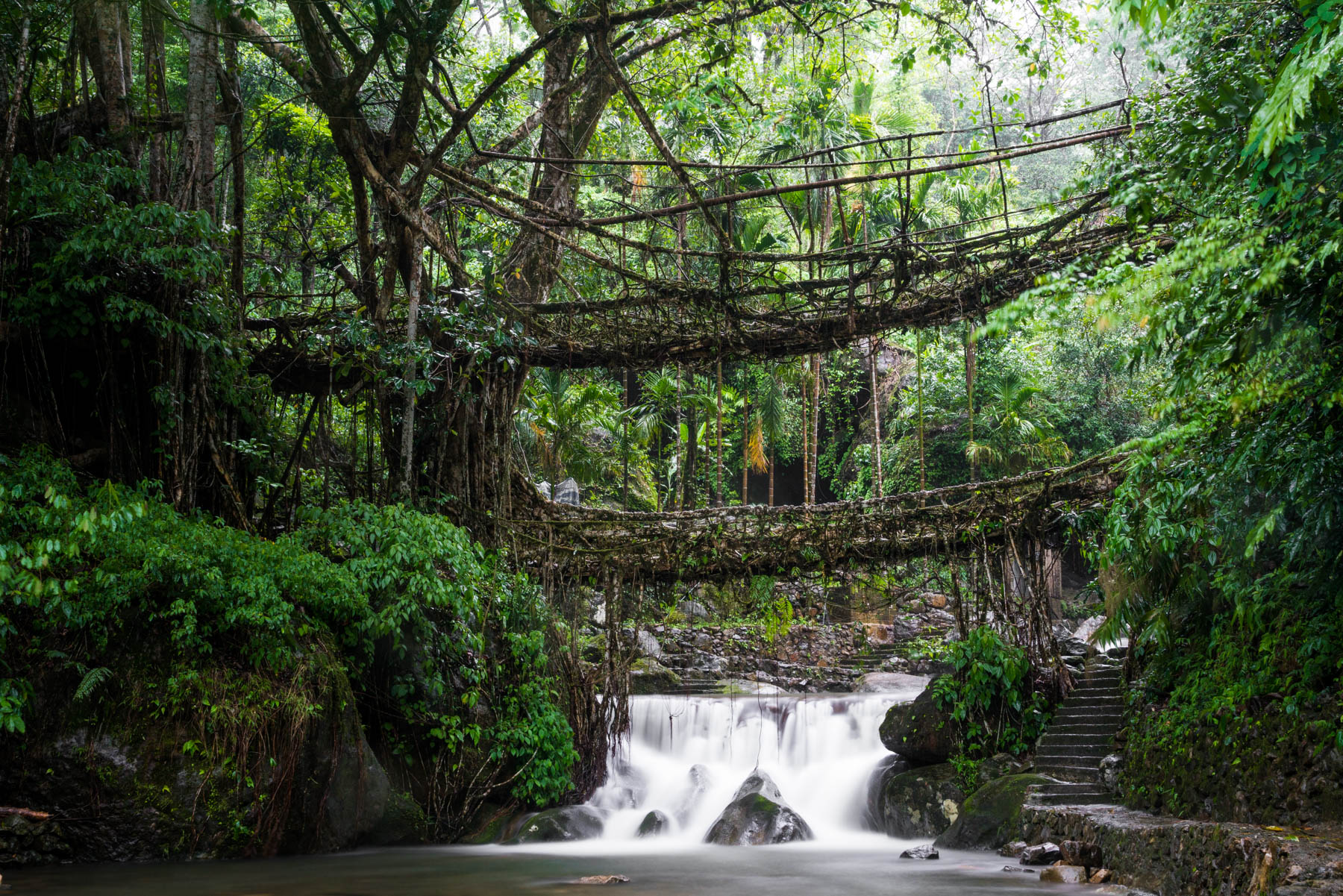 Photo essay of Nongriat and the living root bridges of Meghalaya, India - A long exposure of the waterfall below Umshiang living root bridge - Lost With Purpose