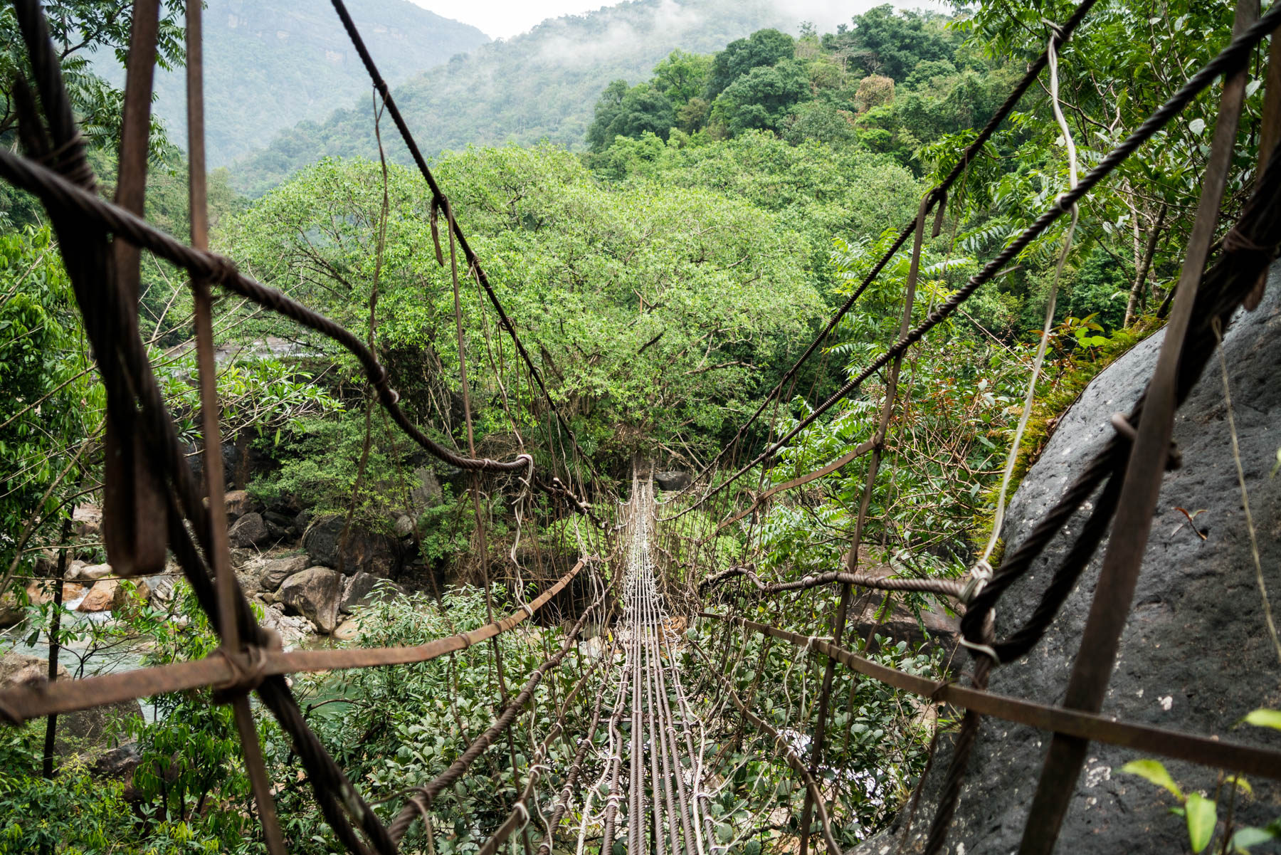 Photo essay of Nongriat and the living root bridges of Meghalaya, India - A cable suspension bridge near Nongriat - Lost With Purpose