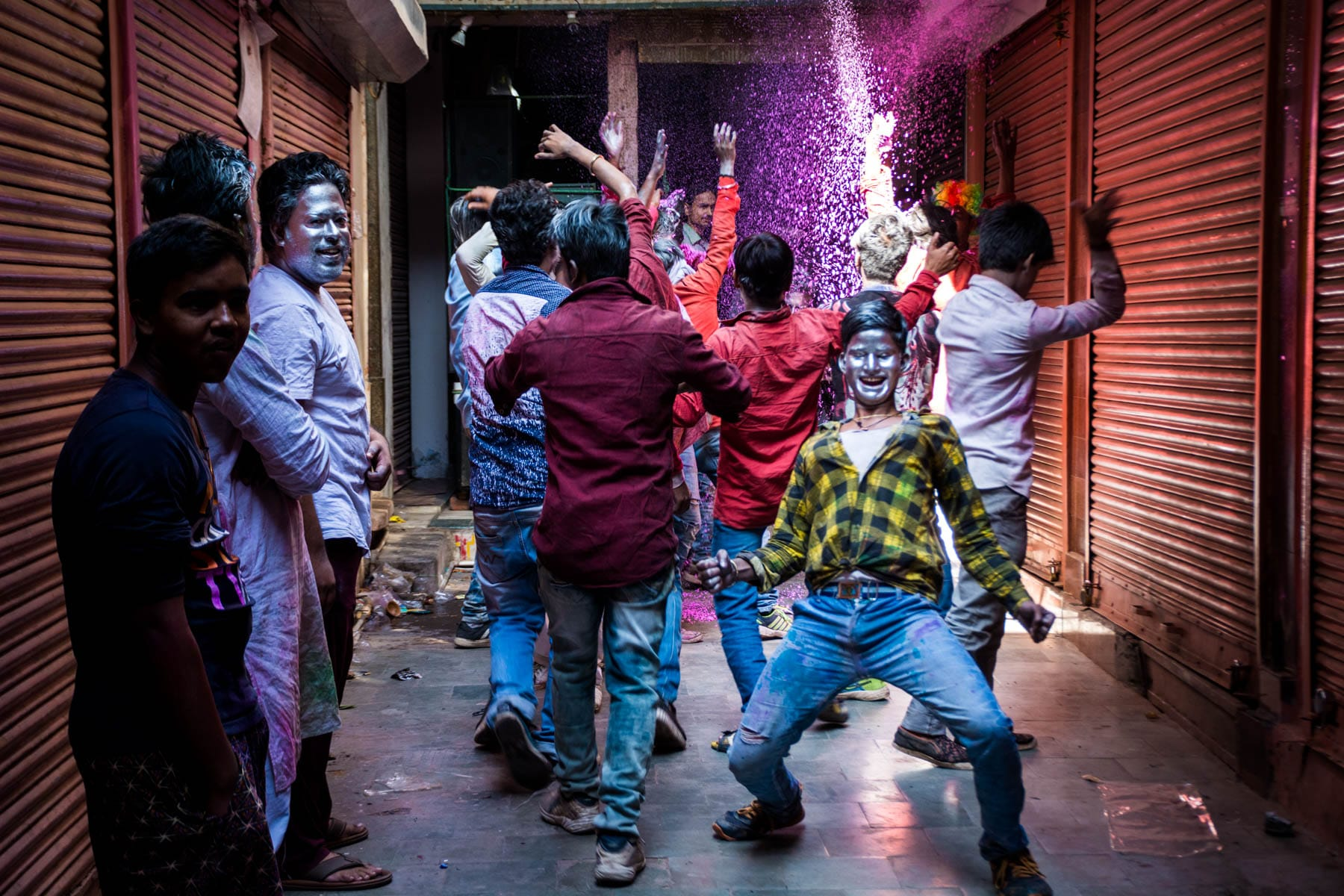 Celebrating Holi in Varanasi as a Female - Boys dancing in the streets - Lost With Purpose