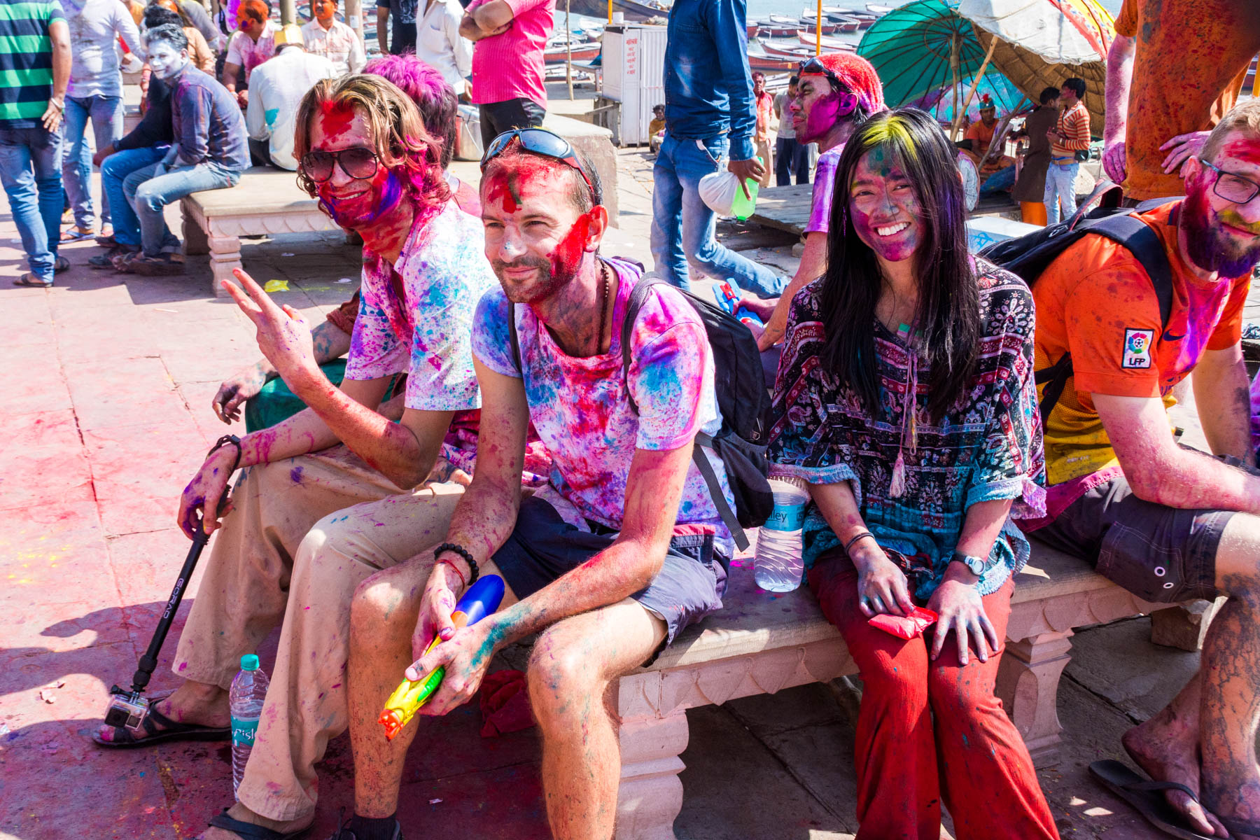 Celebrating Holi in Varanasi as a Woman - A group of foreigners for safety - Lost With Purpose