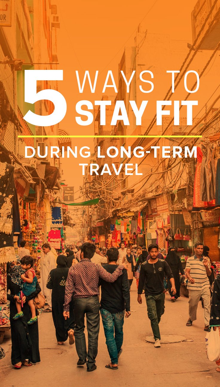 Staying fit while traveling can be challenging... but it doesn't have to be! Here are five ways to exercise while on the road requiring minimal equipment and/or space. Perfect for backpackers and frequent travelers!