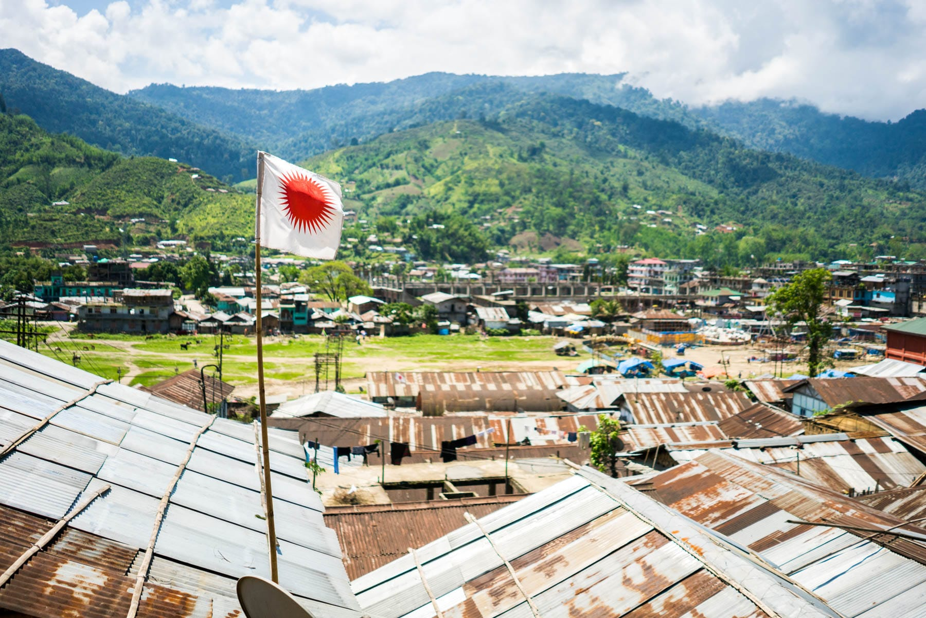 Backpacking in Arunachal Pradesh travel guide - Donyi Polo flag in Daporijo - Lost With Purpose