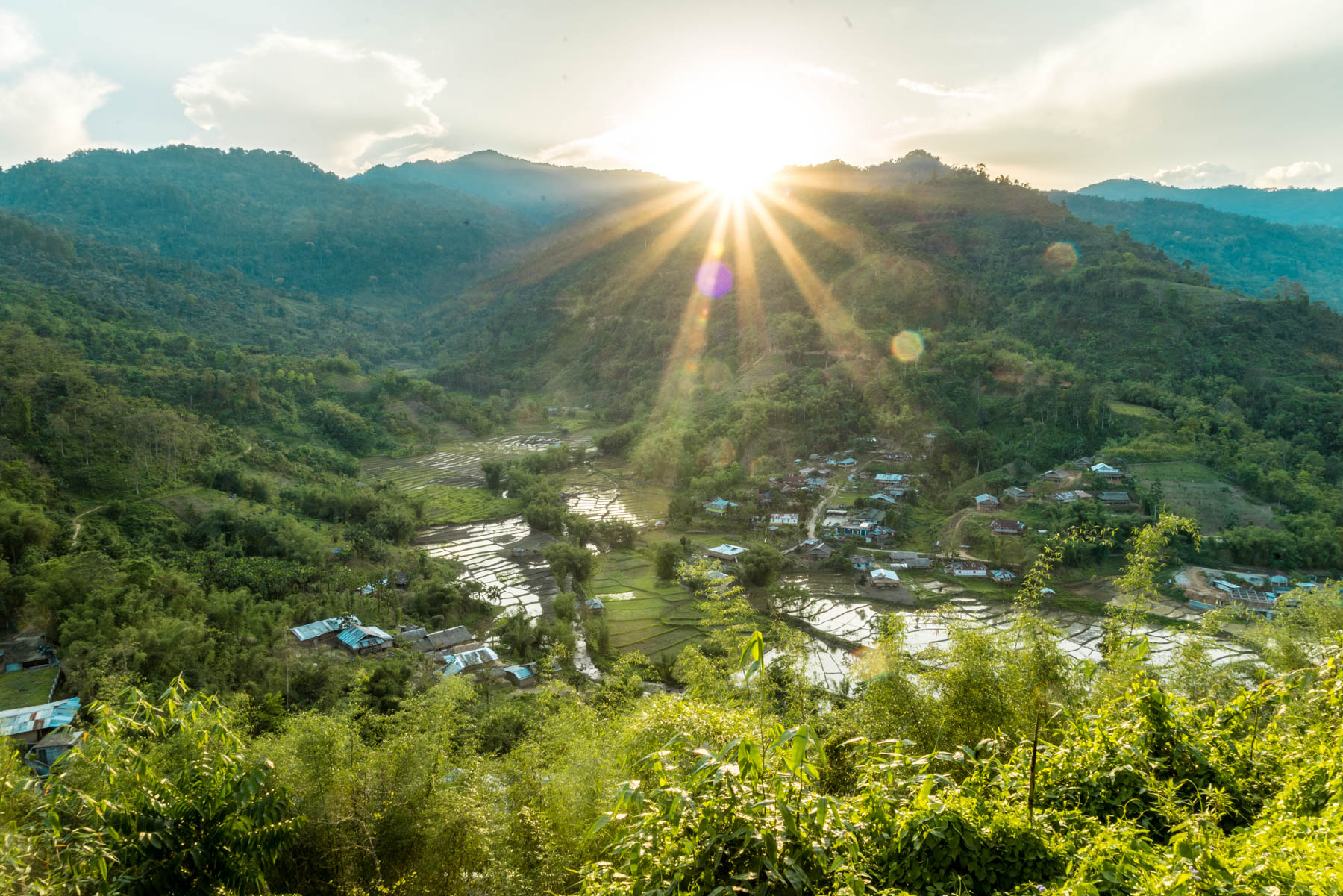 Backpacking Arunachal Pradesh travel guide - Sunset over Daporijo - Lost With Purpose