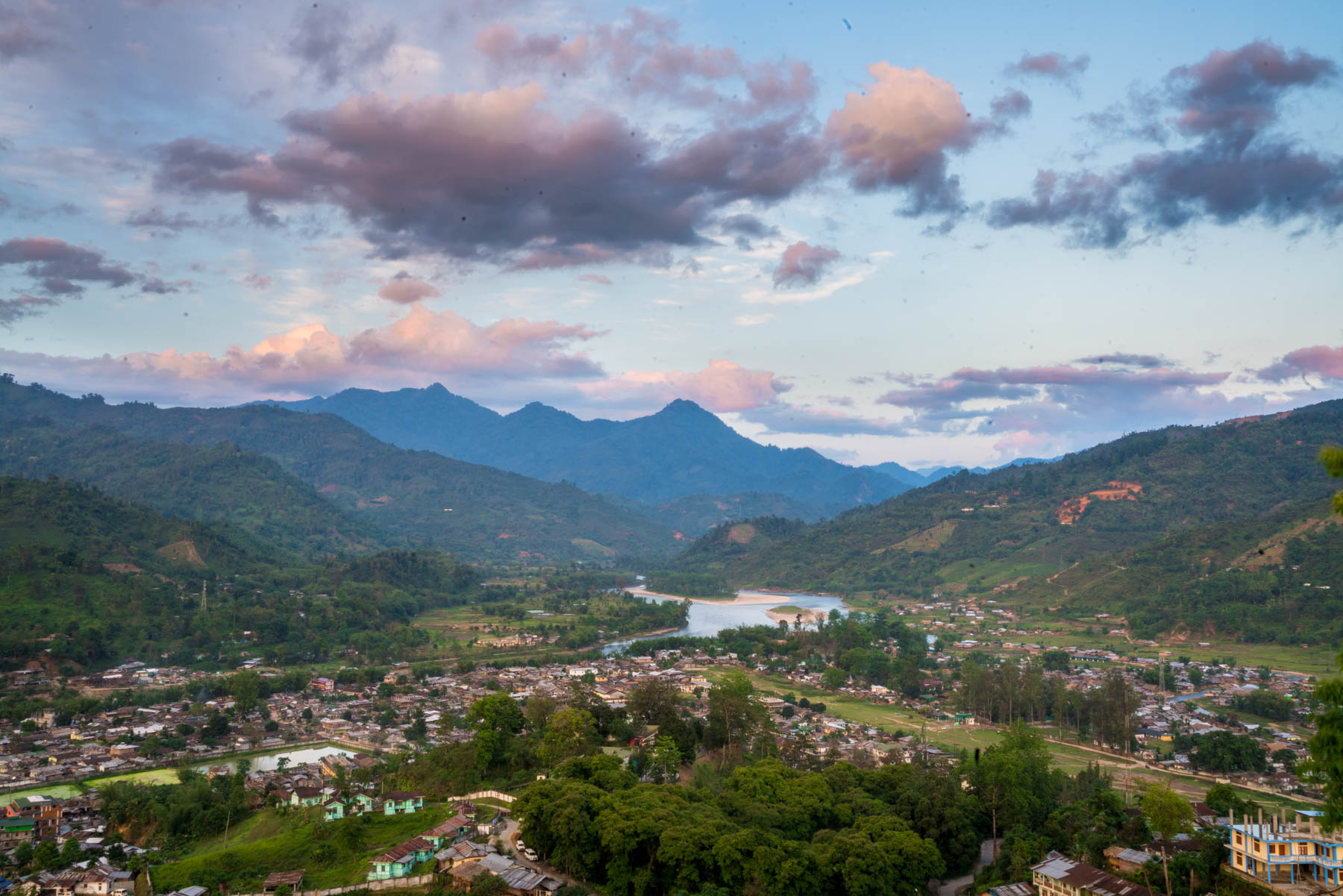 Backpacking in Arunachal Pradesh guide - Sunset over Daporijo - Lost With Purpose