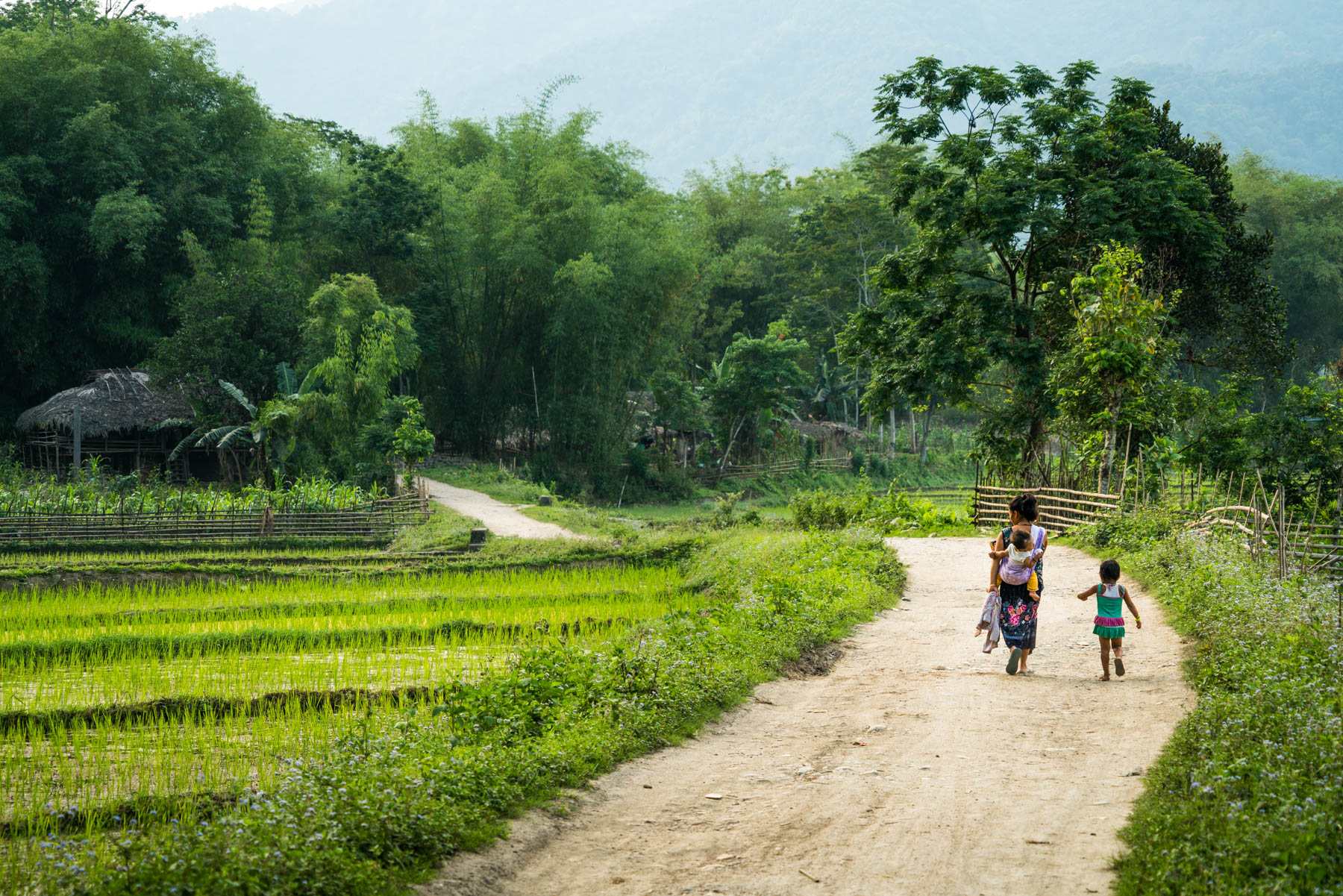 Backpacking in Arunachal Pradesh state, India - A woman walking to Kumb village near Along - Lost With Purpose