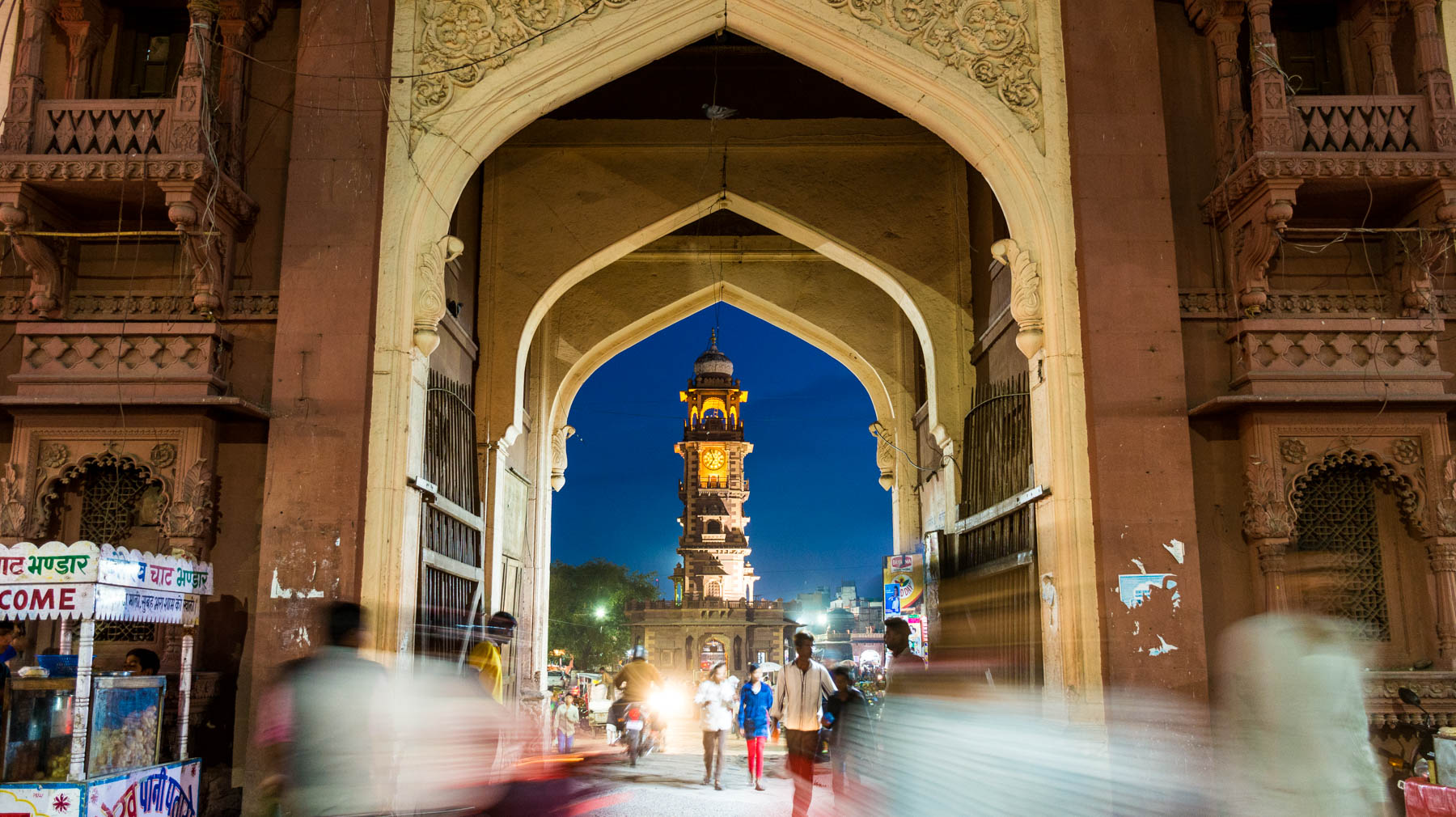Photo essay about the streets and people of the Blue City of Jodhpur, Rajasthan, India - Night time in central market and Ghanta Ghar clock tower in Jodhpur - Lost With Purpose