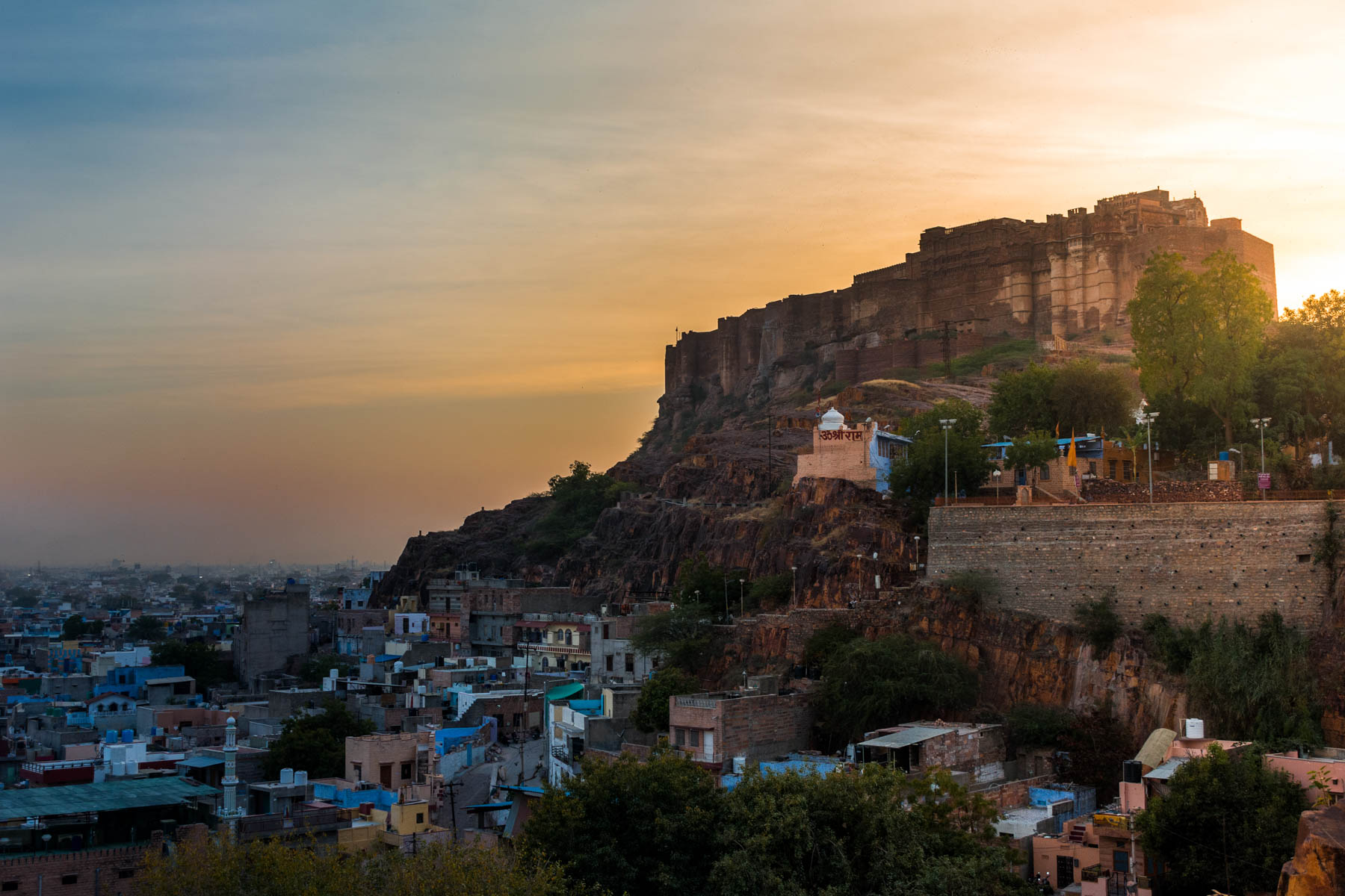 Sunset behind Mehrangarh fort in Jodhpur