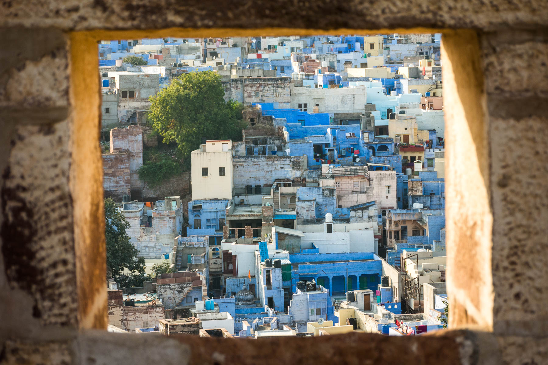 A look through a window of Jodhpur, India