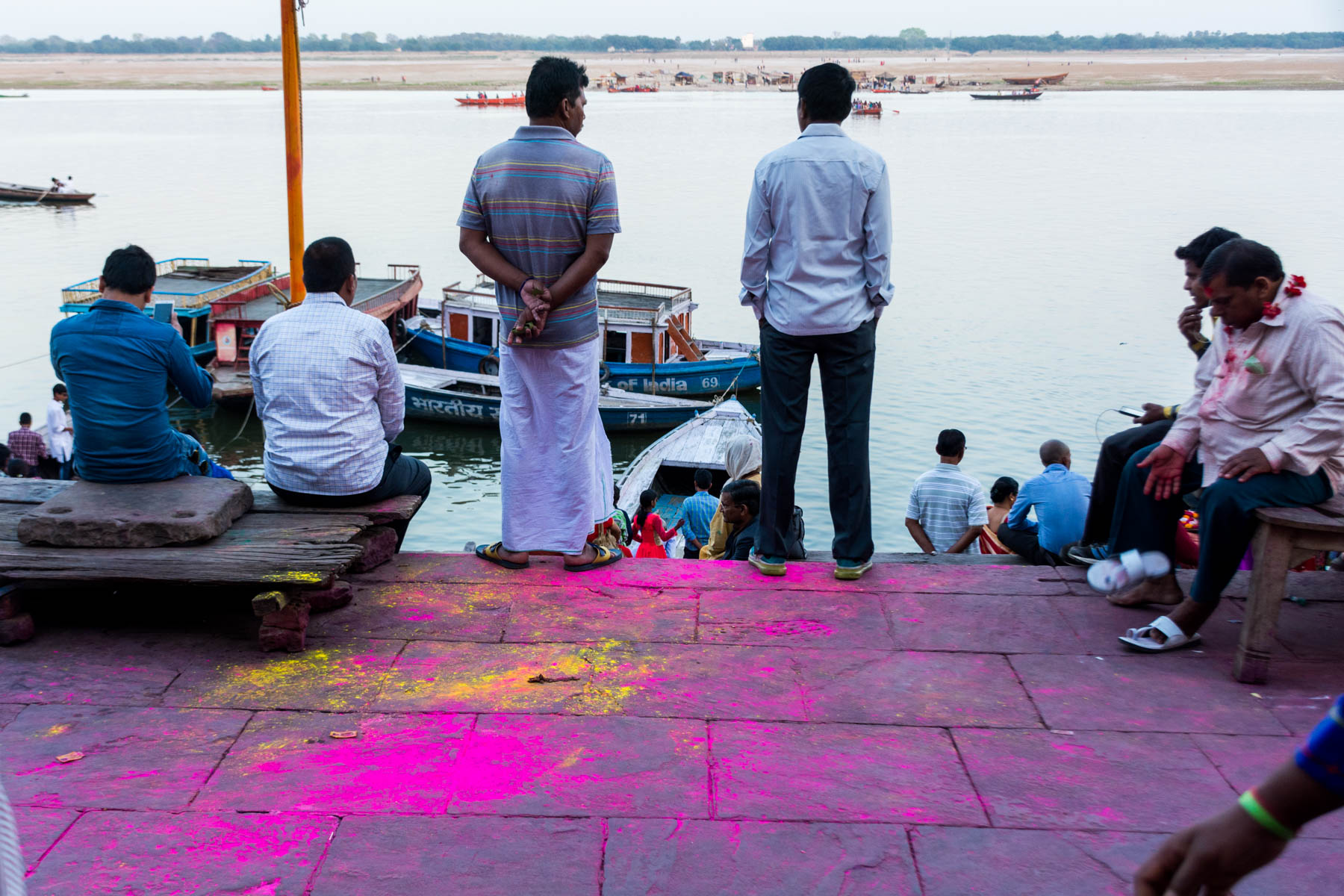 What you need know about playing Holi in Varanasi, India - The post-Holi war zone on the ghats of Varanasi - Lost With Purpose
