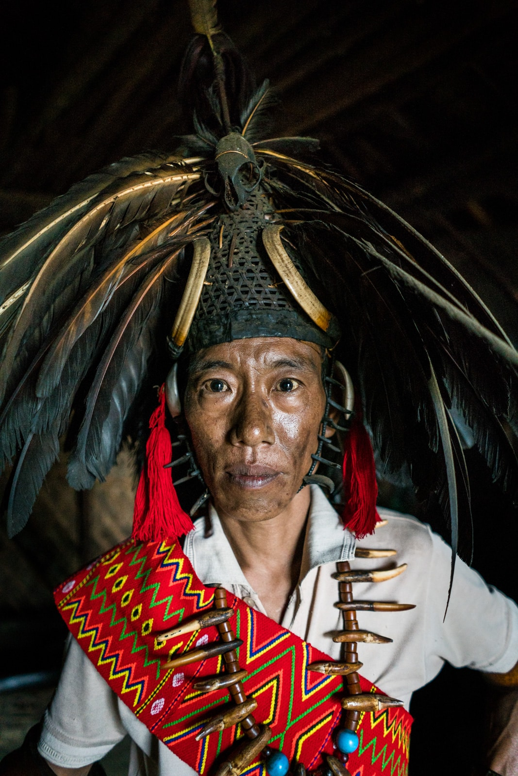 A local man from Longwa village, Nagaland, India in traditional headhunter attire.