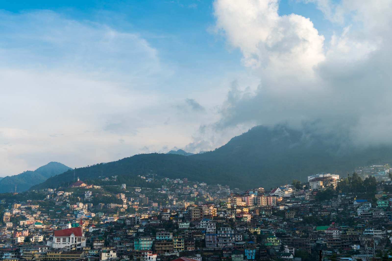 A view of Kohima from the balcony of Morung Lodge homestay